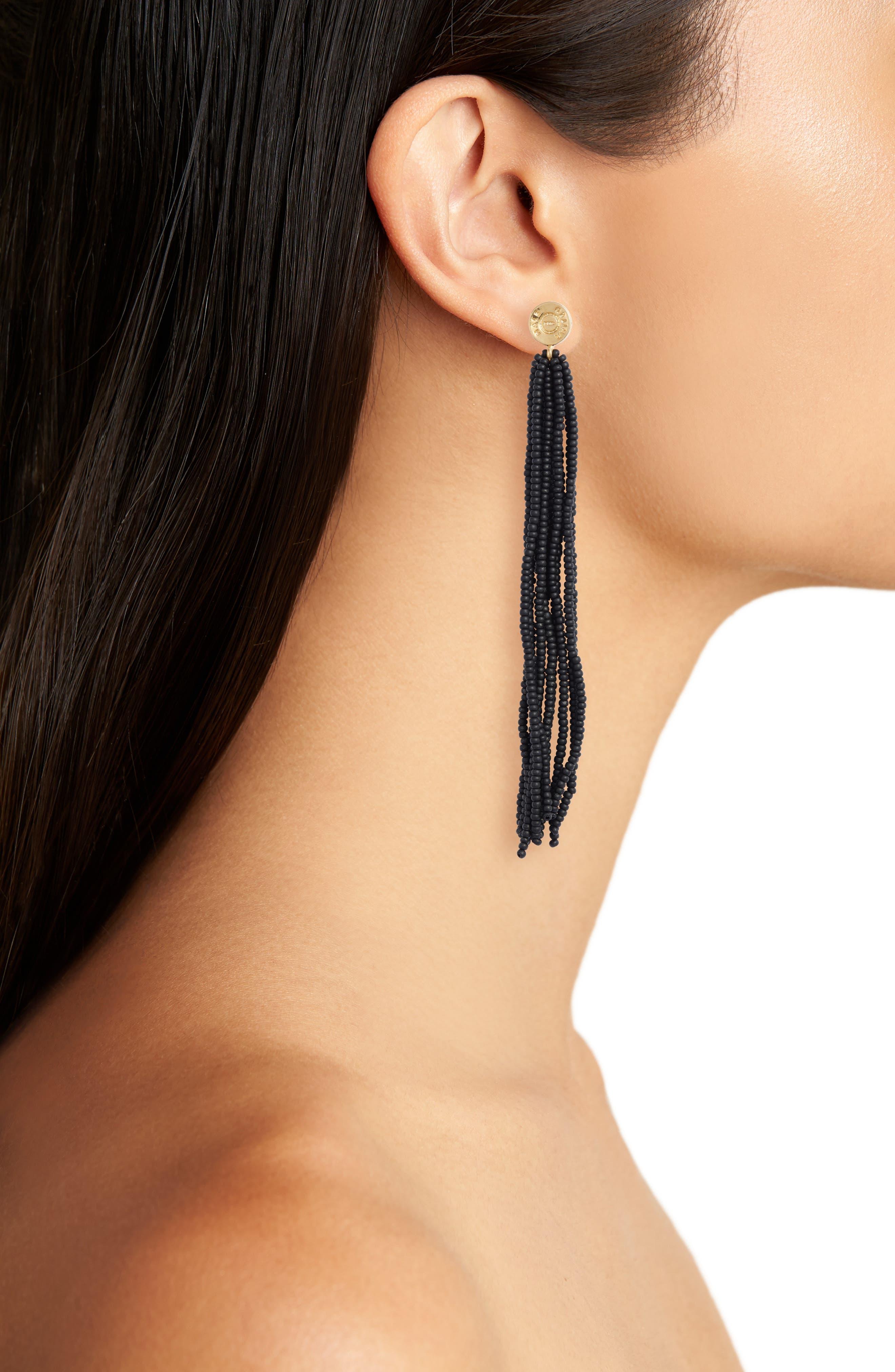 Long Tassel Earrings,                             Alternate thumbnail 2, color,                             NAVY