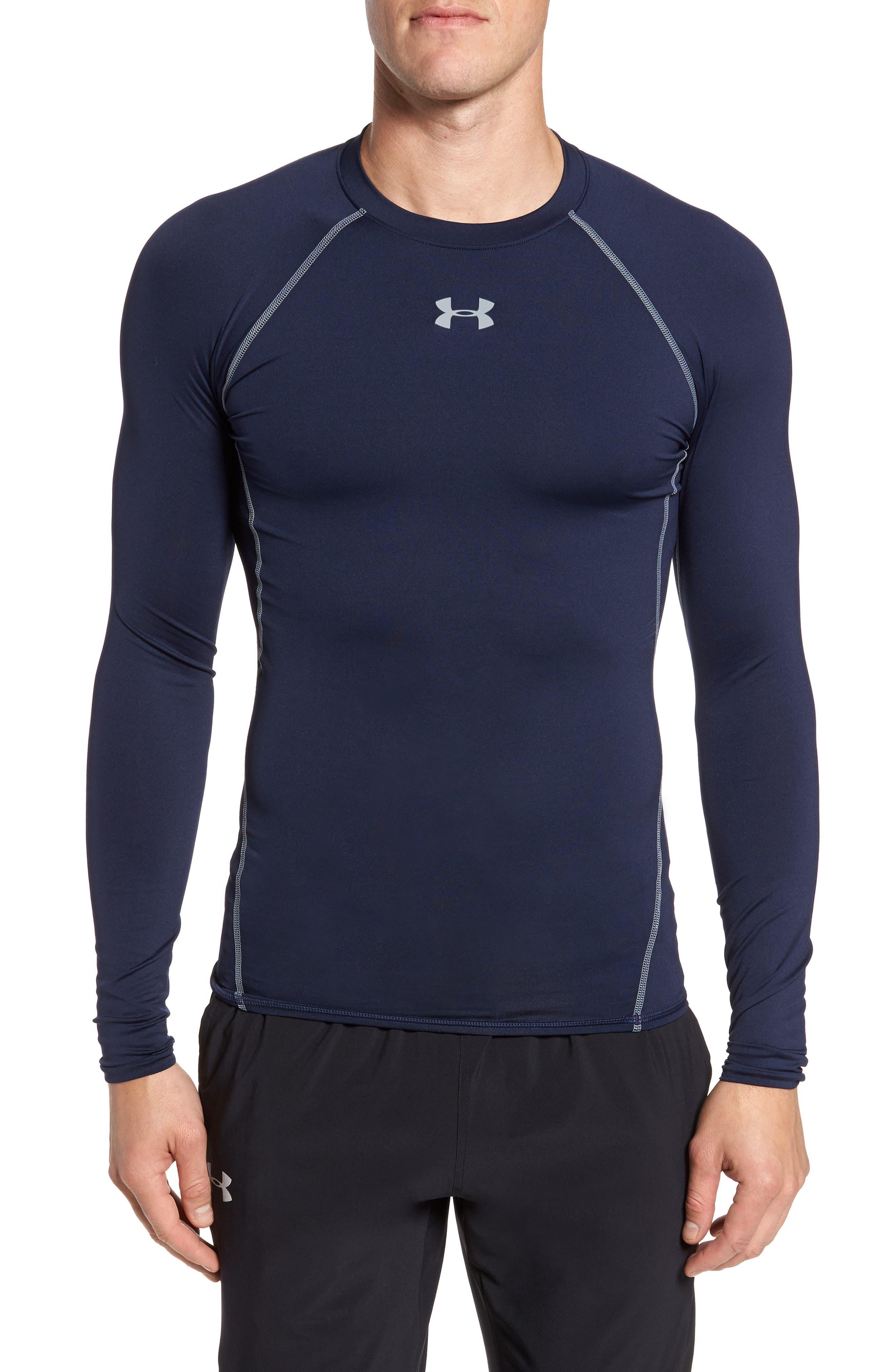 Under Armour Heatgear Compression Fit Long Sleeve T-Shirt, Blue