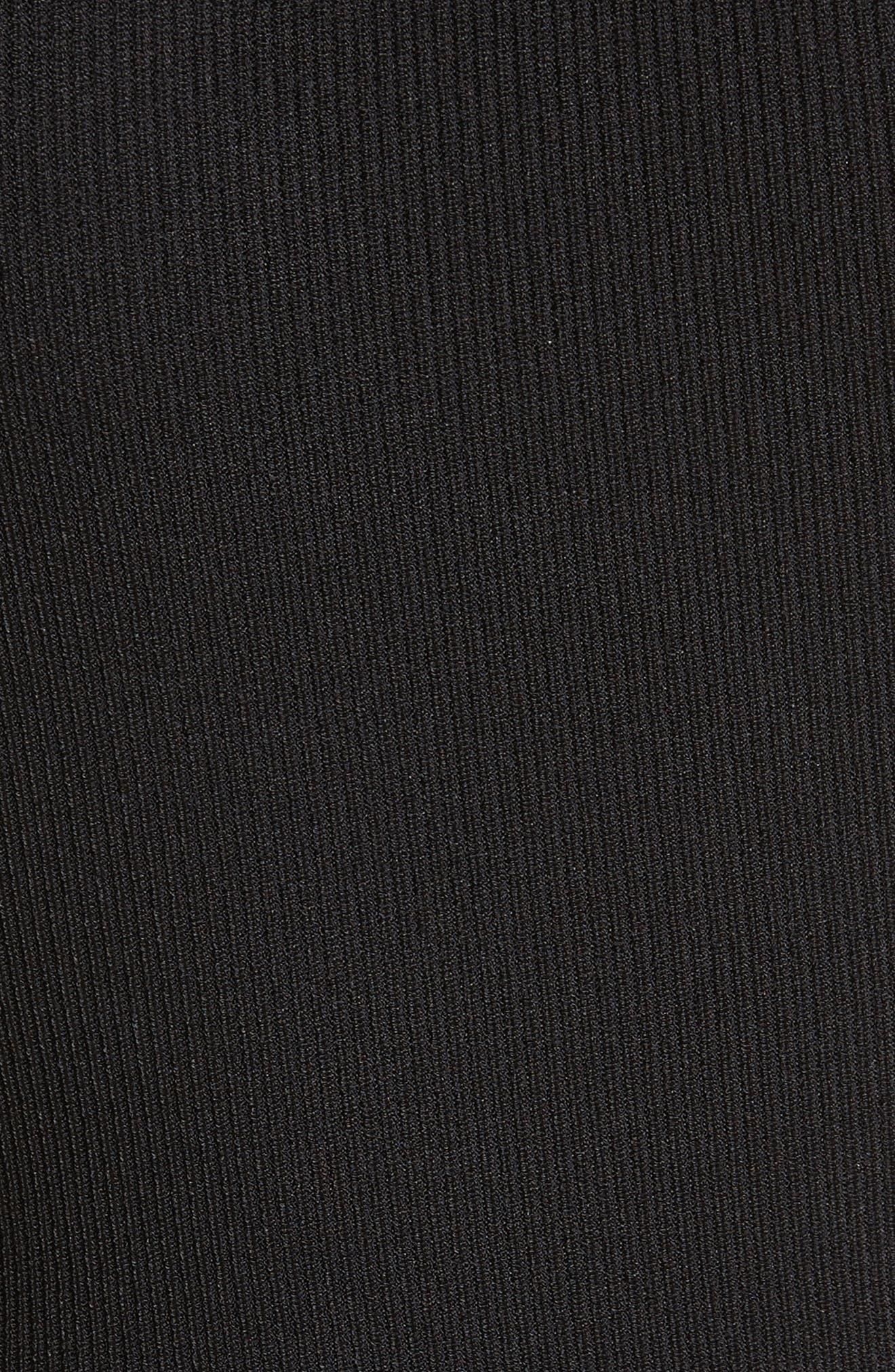 Vika One-Shoulder Knit Flare Dress,                             Alternate thumbnail 5, color,                             001