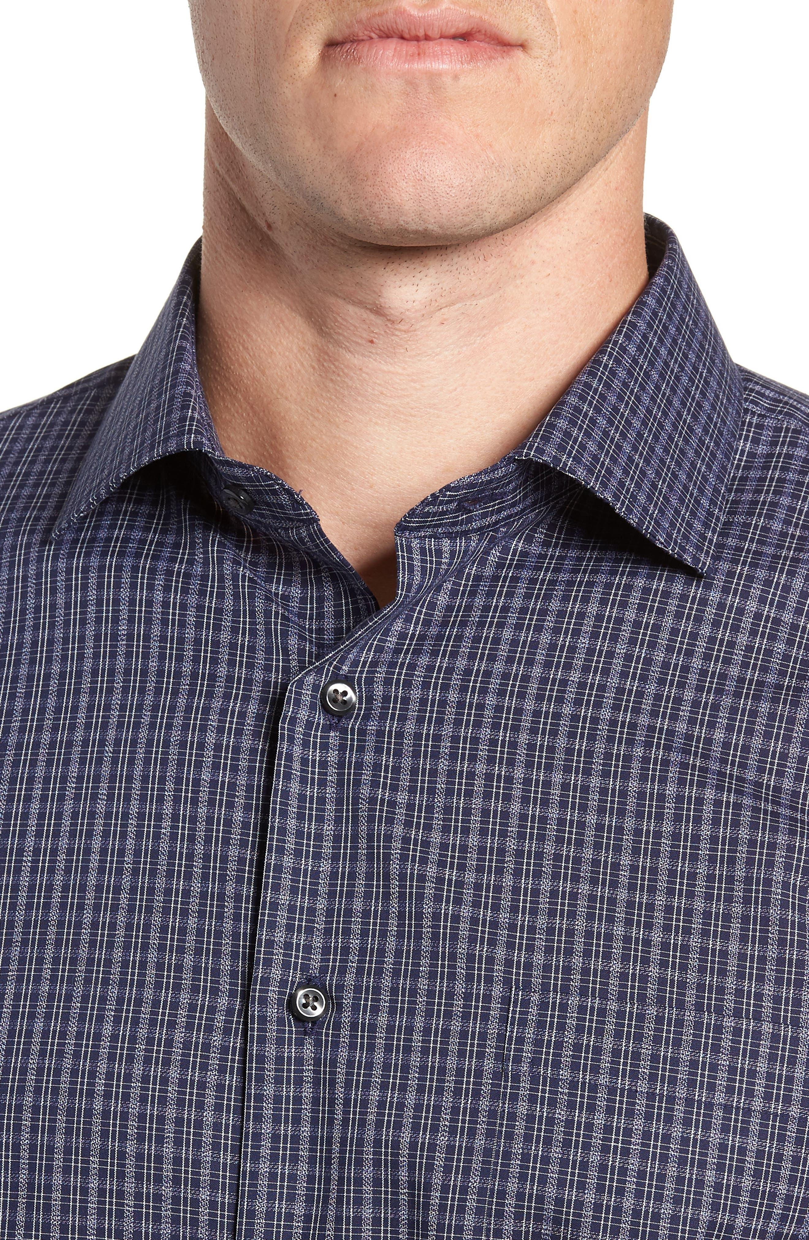 Trim Fit Non-Iron Plaid Dress Shirt,                             Alternate thumbnail 2, color,                             NAVY NIGHT