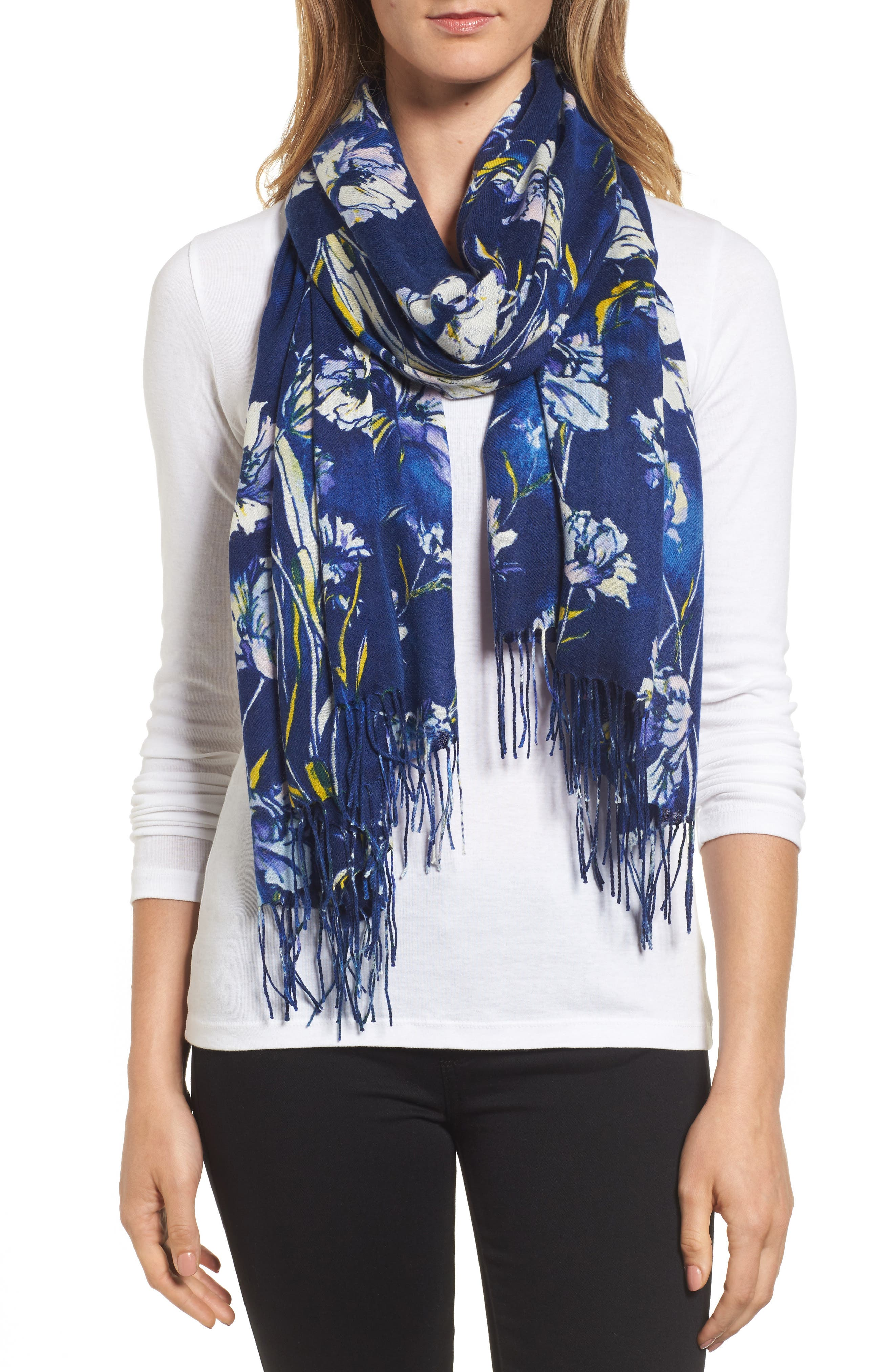 Cambridge Print Wool & Cashmere Scarf,                             Main thumbnail 1, color,