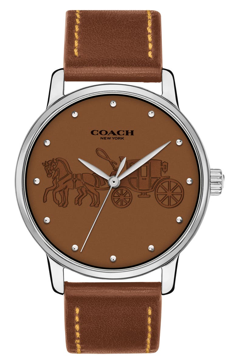 COACH Grand Leather Strap Watch