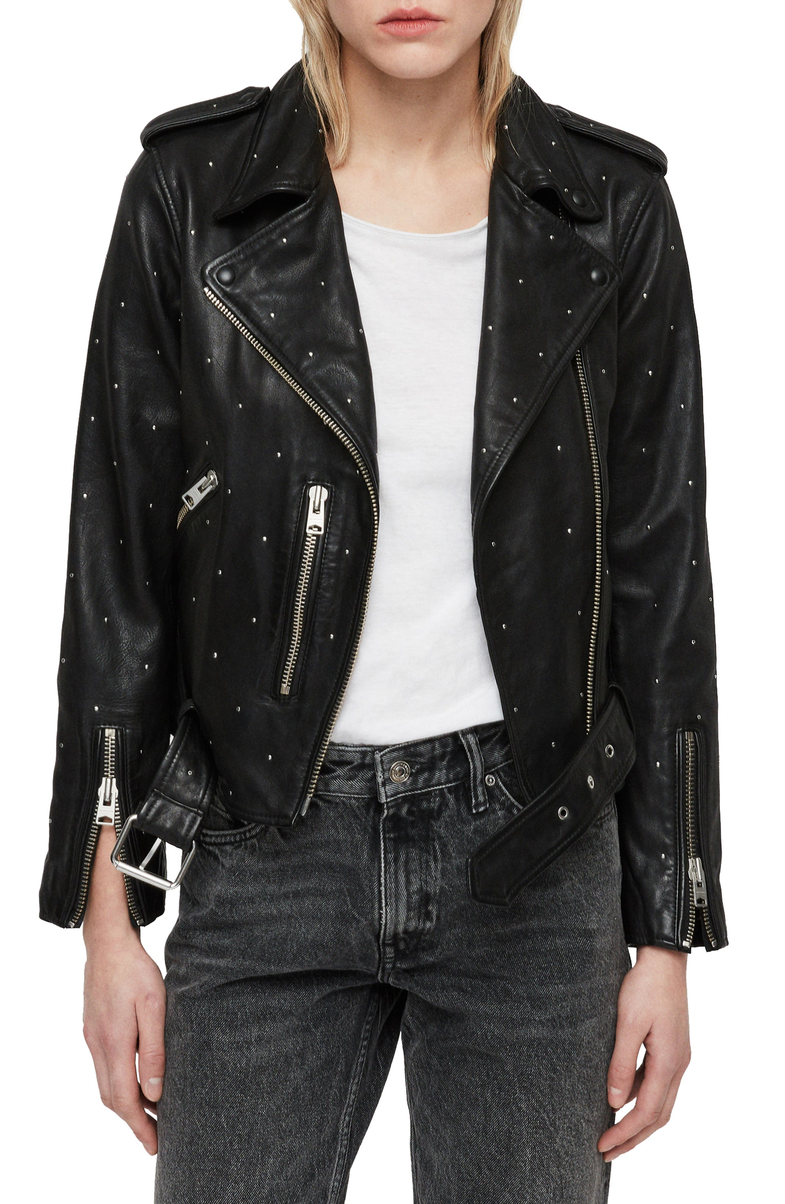 Balfern Studded Leather Biker Jacket,                         Main,                         color, BLACK