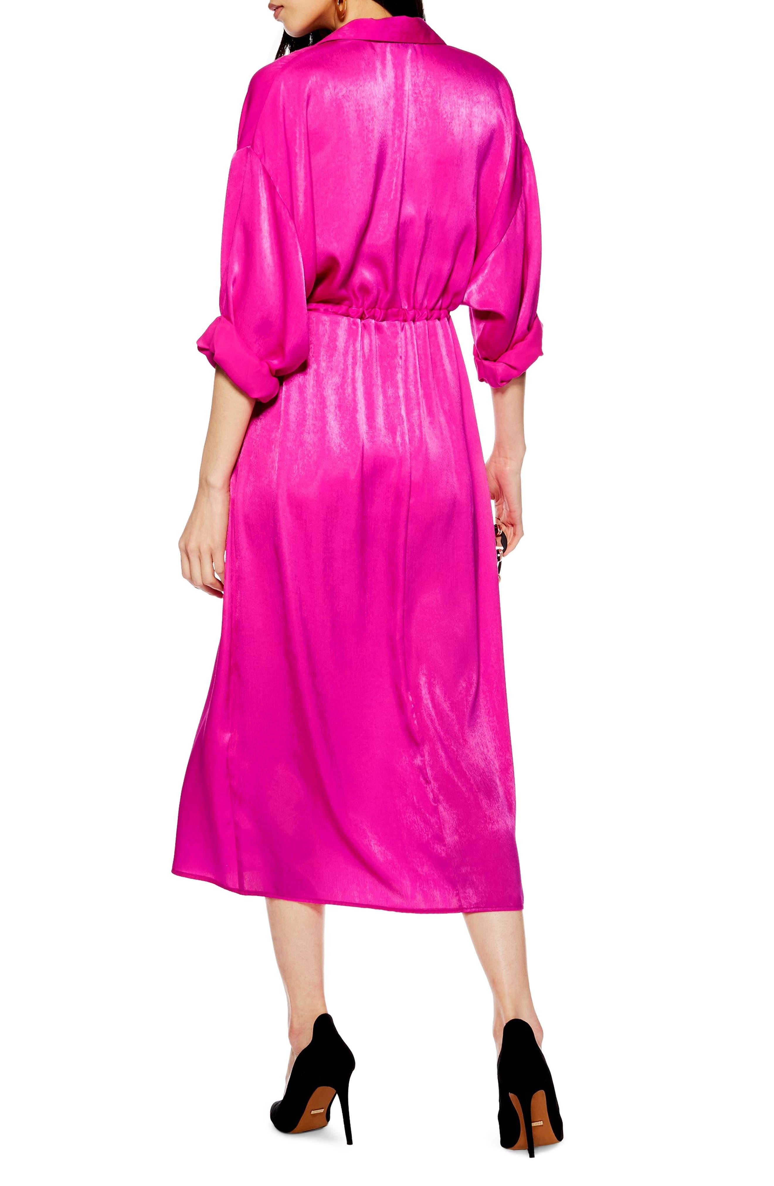 TOPSHOP,                             Satin Midi Shirtdress,                             Alternate thumbnail 2, color,                             BRIGHT PINK