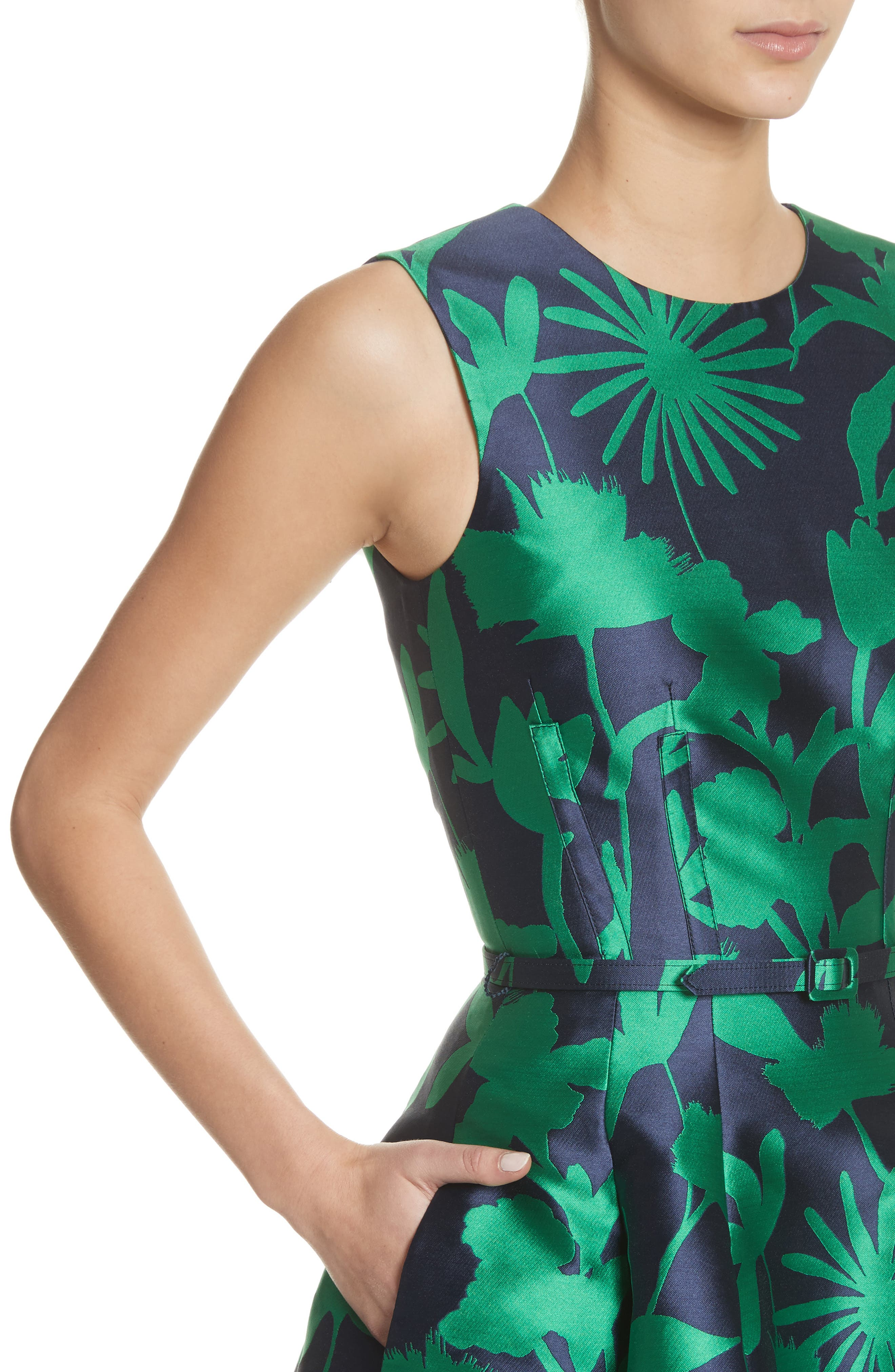 Leaf Print Belted Mikado Dress,                             Alternate thumbnail 4, color,                             404