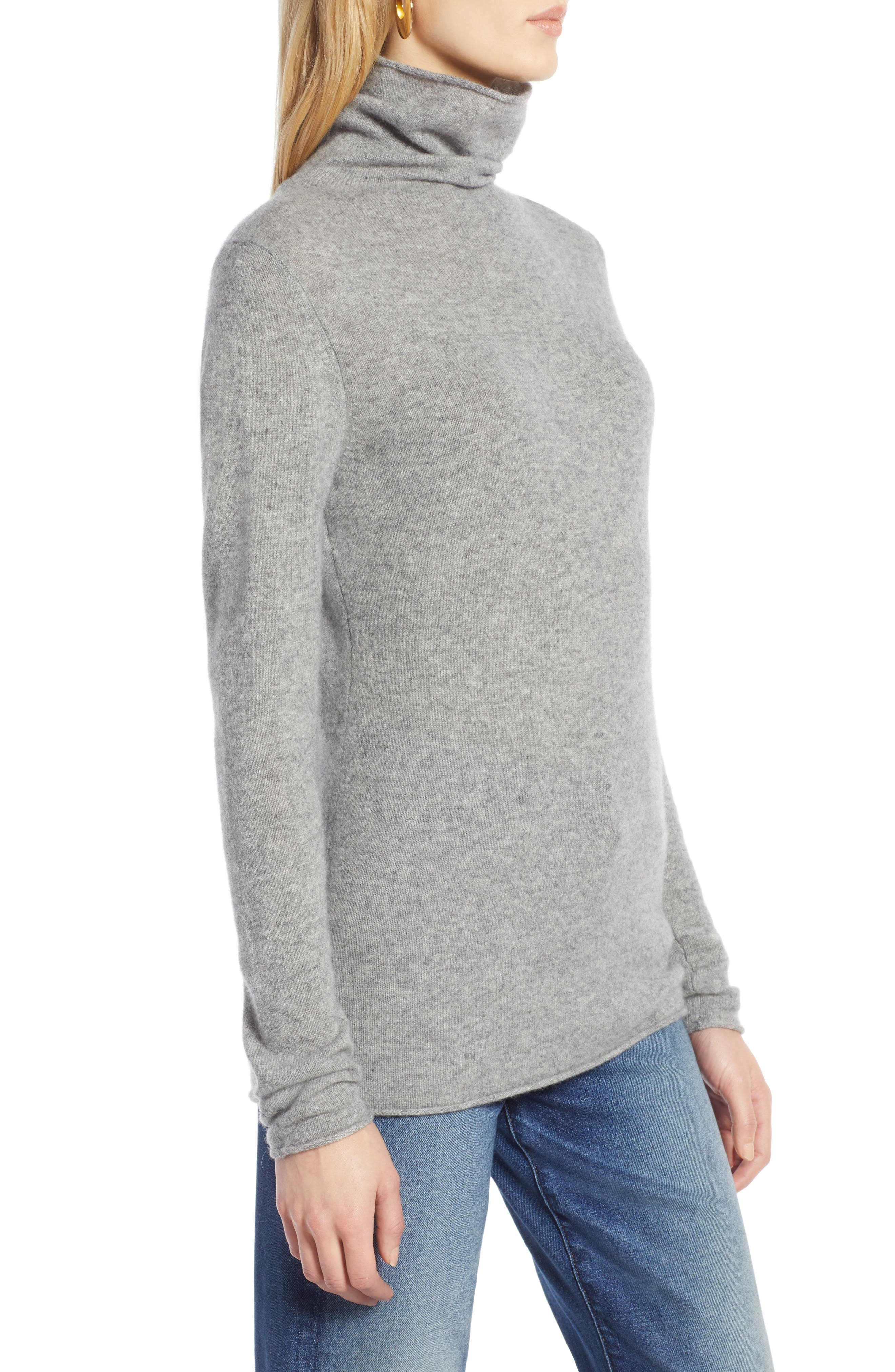 HALOGEN<SUP>®</SUP>,                             Funnel Neck Cashmere Sweater,                             Alternate thumbnail 3, color,                             GREY HEATHER