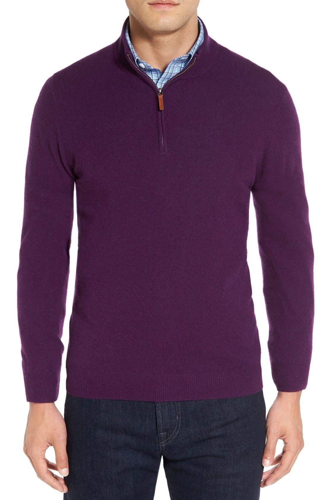 Cashmere Quarter Zip Sweater,                             Main thumbnail 11, color,