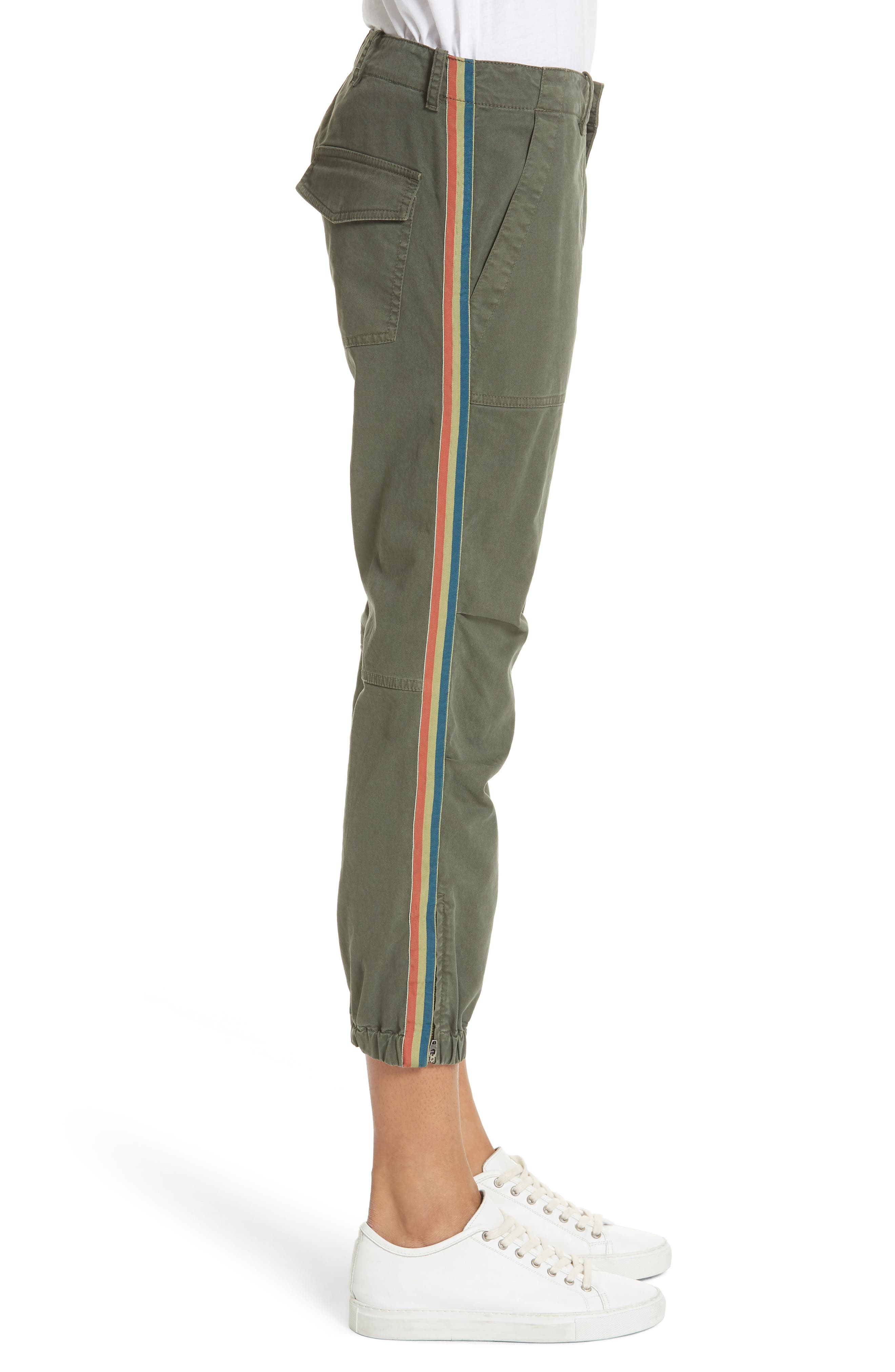 French Crop Military Pants,                             Alternate thumbnail 3, color,                             LODEN