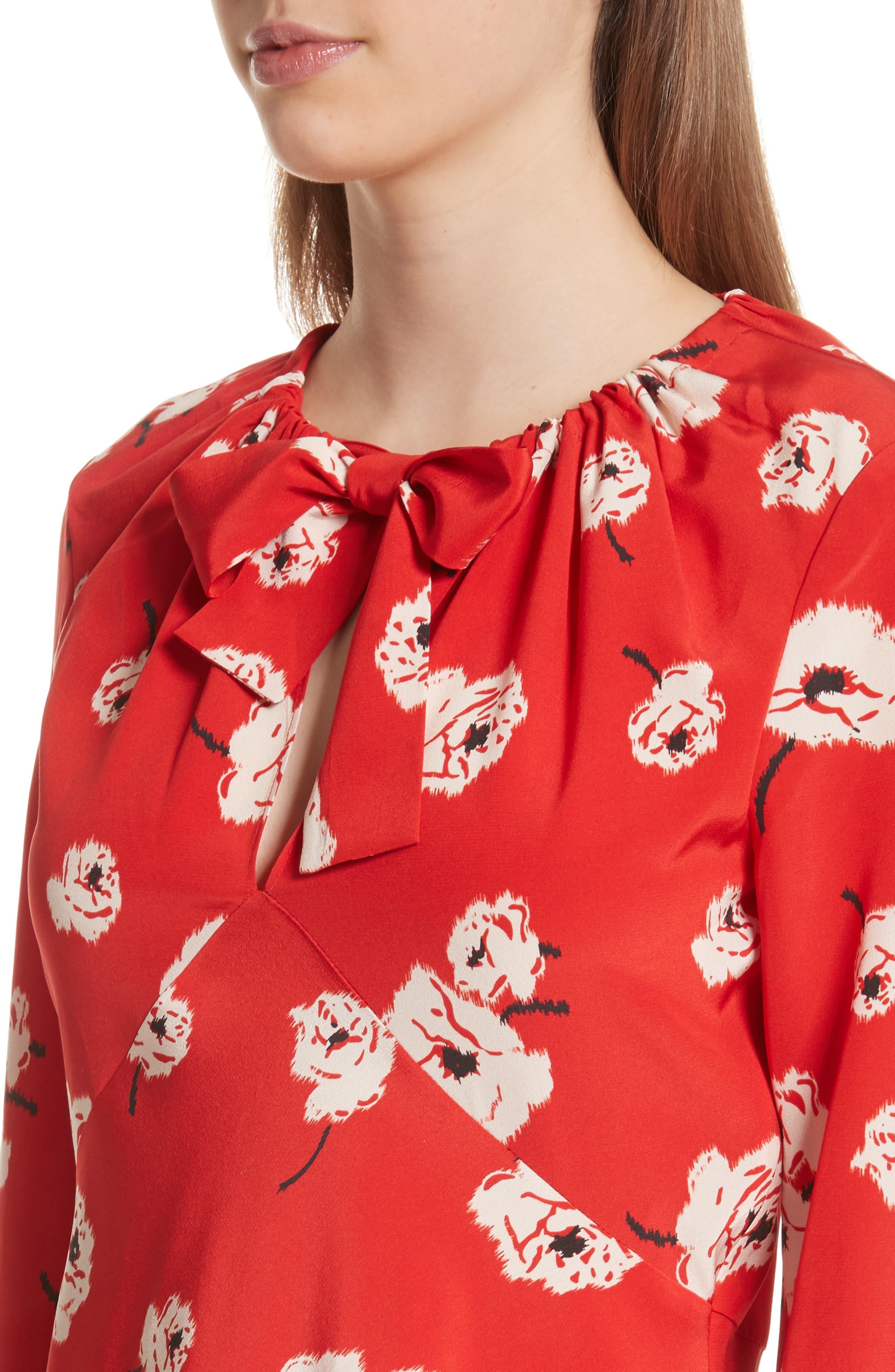 Asymmetrical Floral Silk Blouse,                             Alternate thumbnail 4, color,                             623