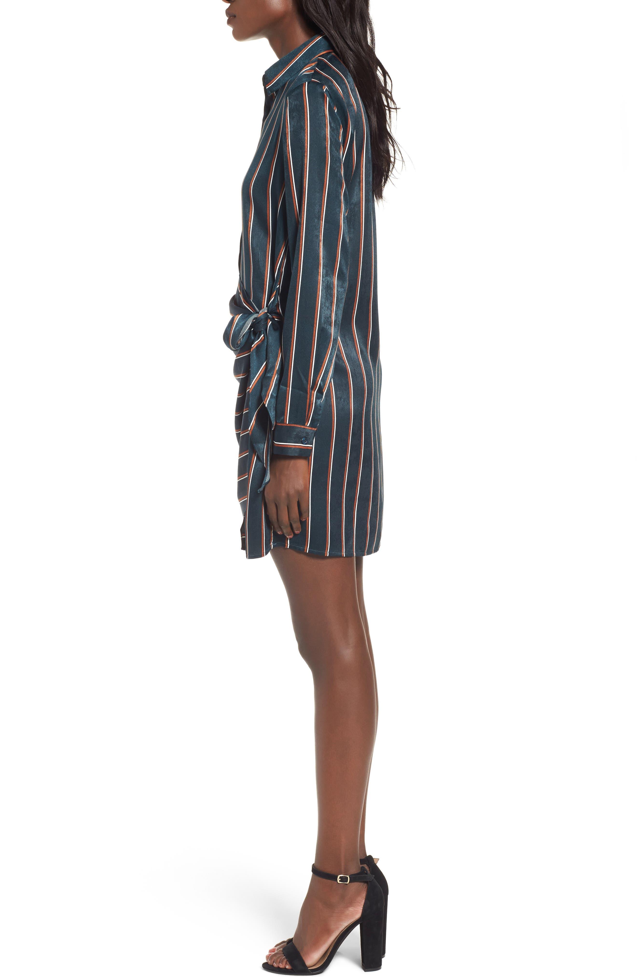 Tie Front Stripe Shirtdress,                             Alternate thumbnail 3, color,                             360