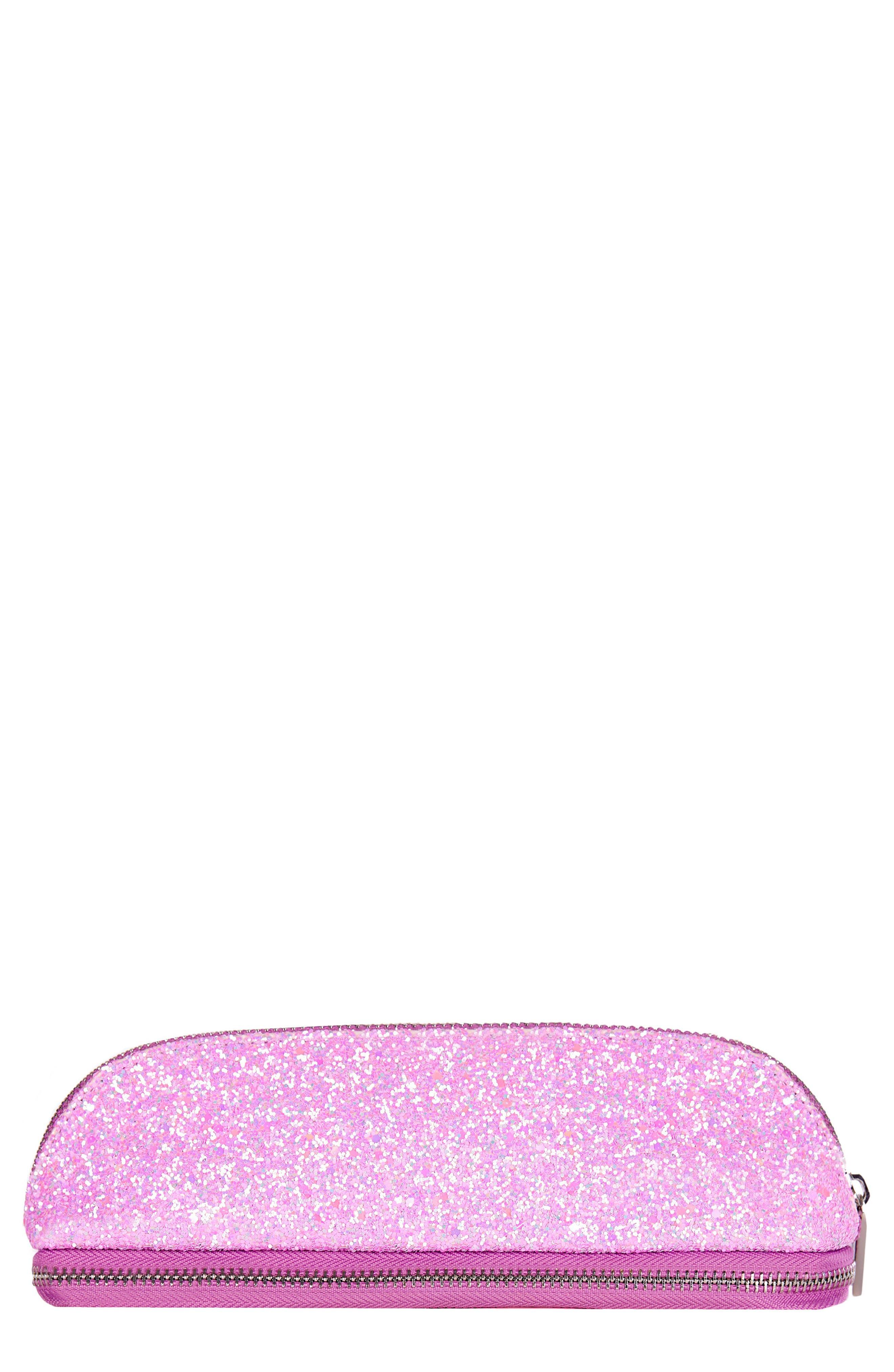 Glitsy Pink Makeup Brush Cosmetics Case,                             Main thumbnail 1, color,                             NO COLOR