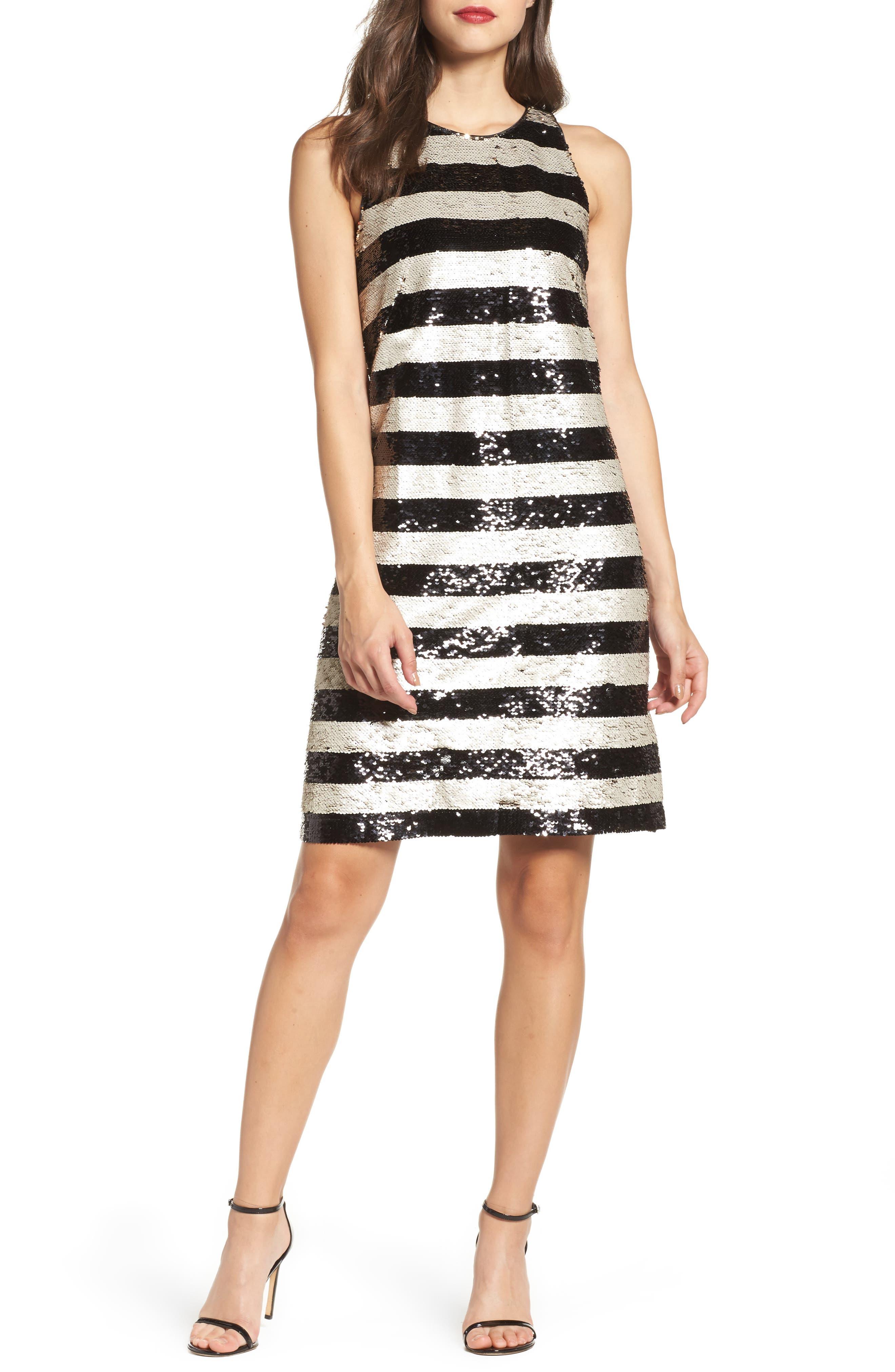 Reversible Stripe Sequin Shift Dress,                             Main thumbnail 1, color,                             006