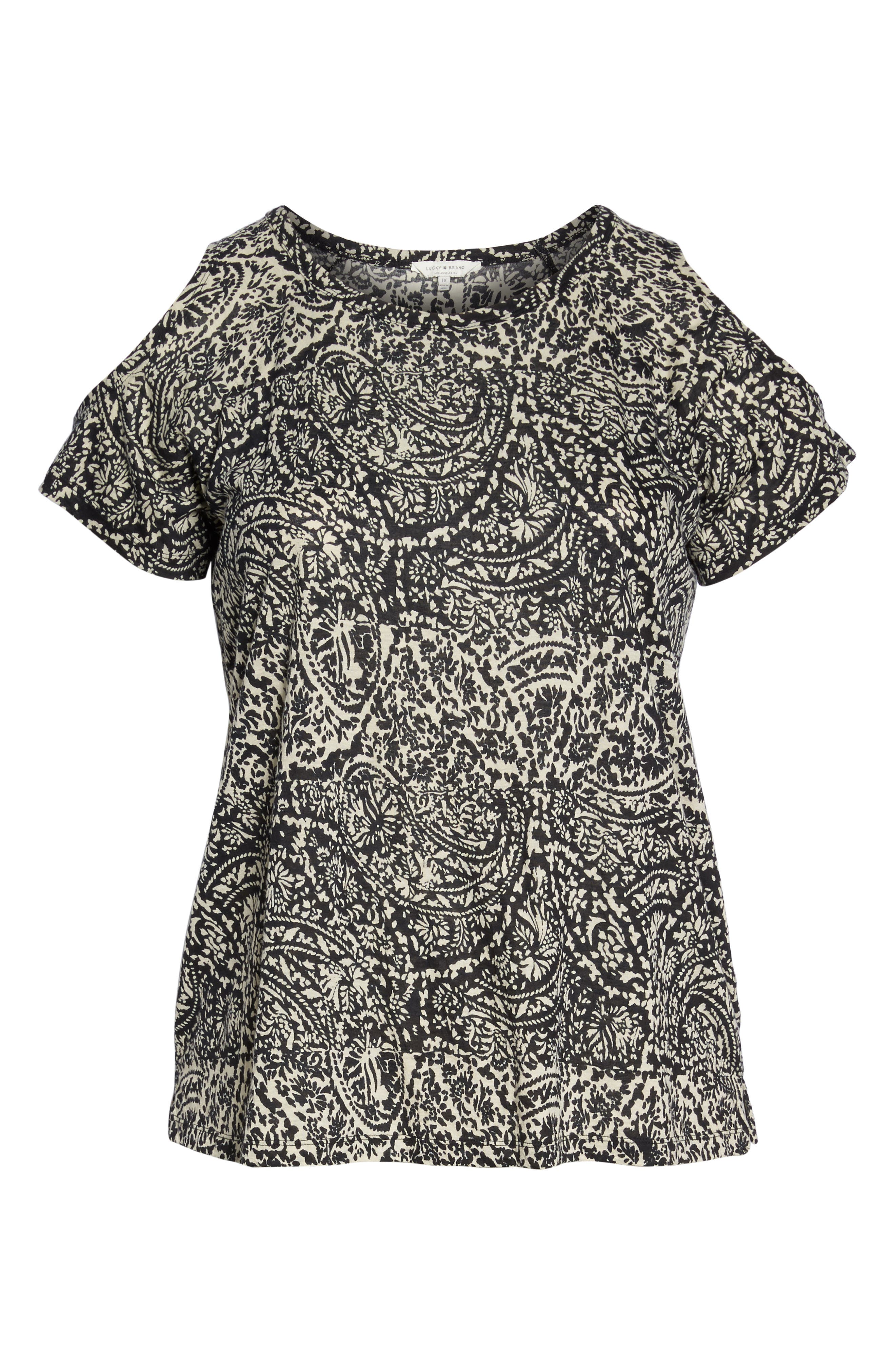 Paisley Print Cold Shoulder Tee,                             Alternate thumbnail 6, color,                             006