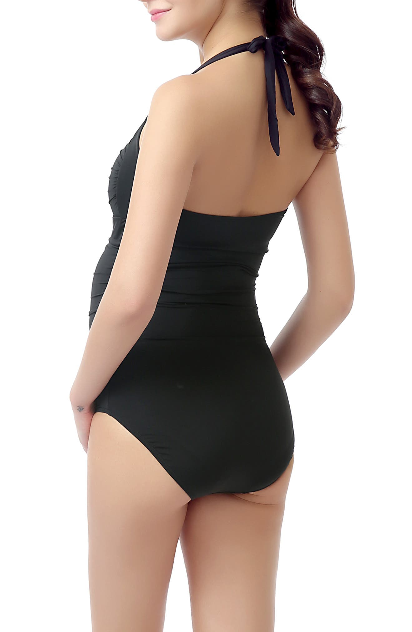 'Dana' Maternity One-Piece Halter Swimsuit,                             Alternate thumbnail 2, color,                             BLACK