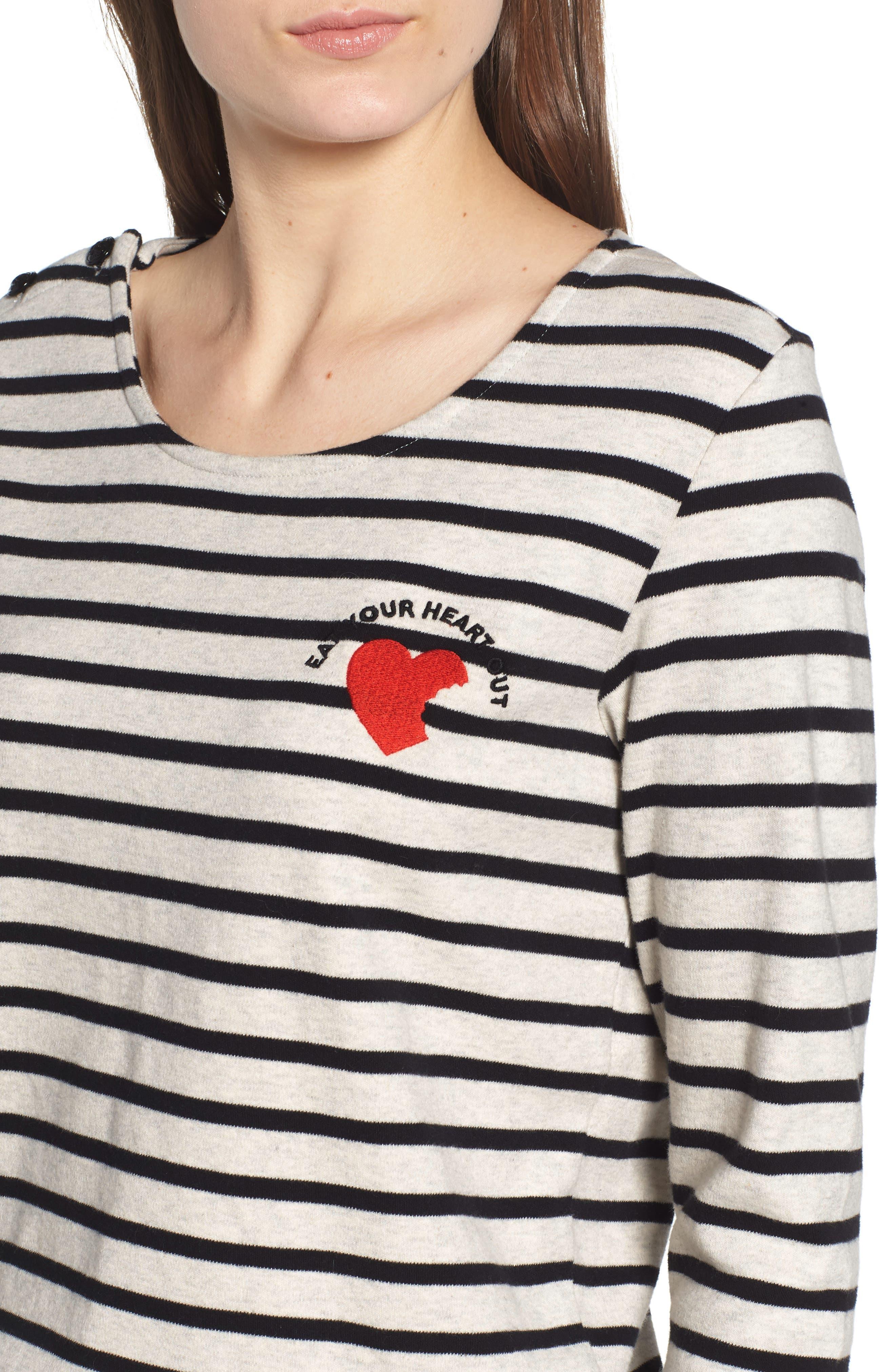 Breton Stripe Long Sleeve Tee,                             Alternate thumbnail 4, color,                             BLACK/ WHITE STRIPE
