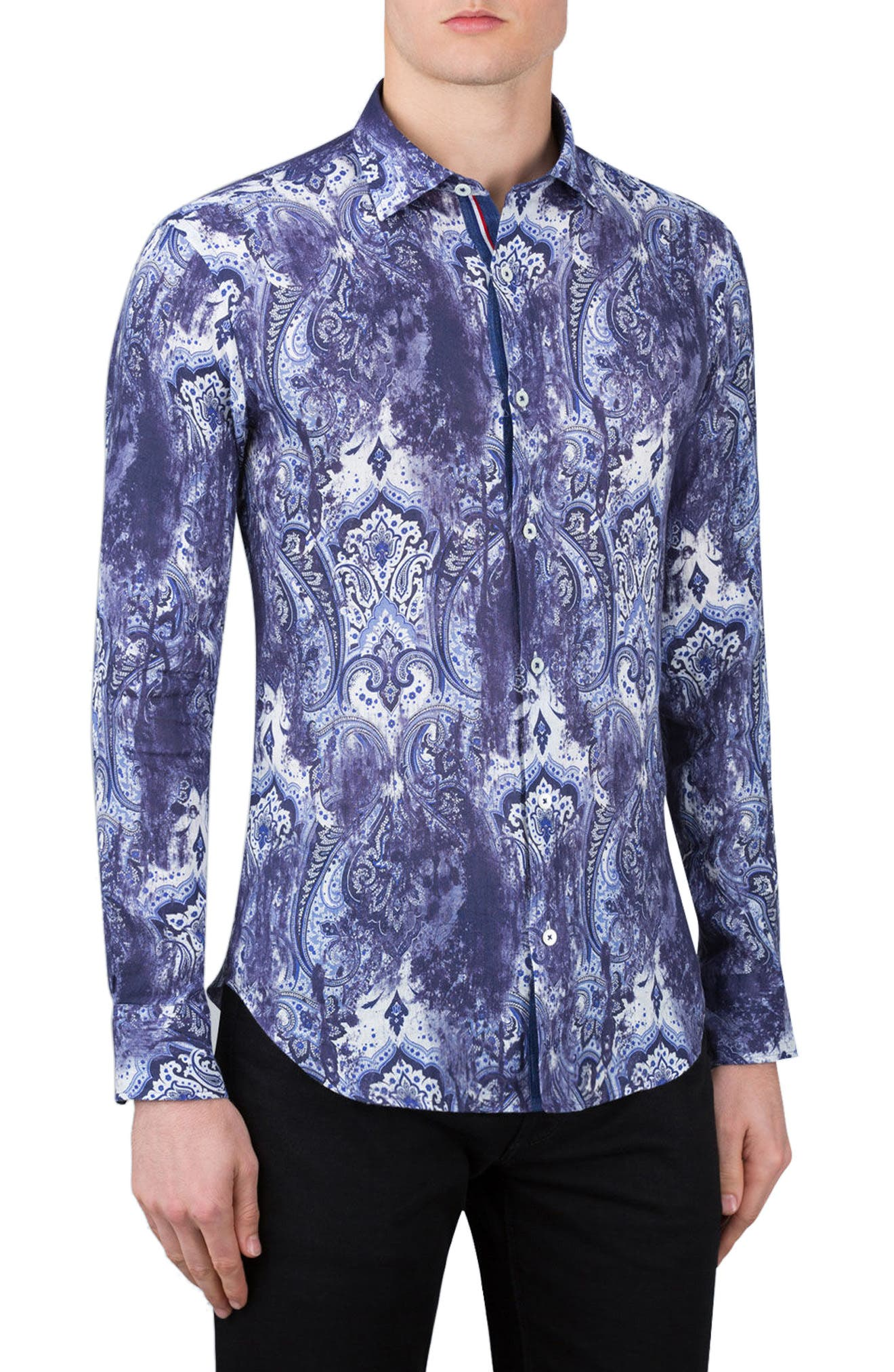 Shaped Fit Paisley Print Linen Sport Shirt,                         Main,                         color, 408