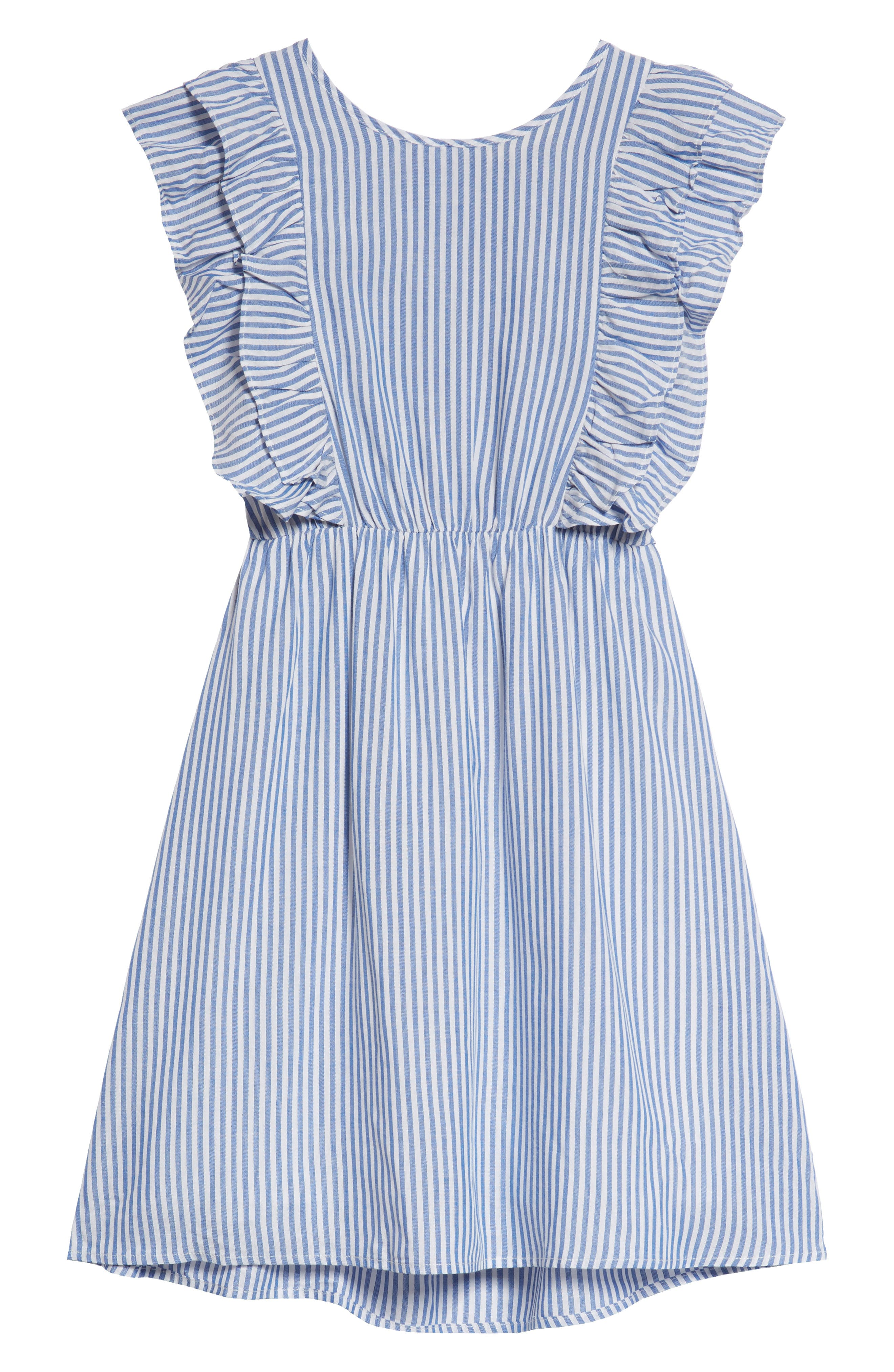 Poplin Stripe Ruffle Dress,                             Main thumbnail 1, color,