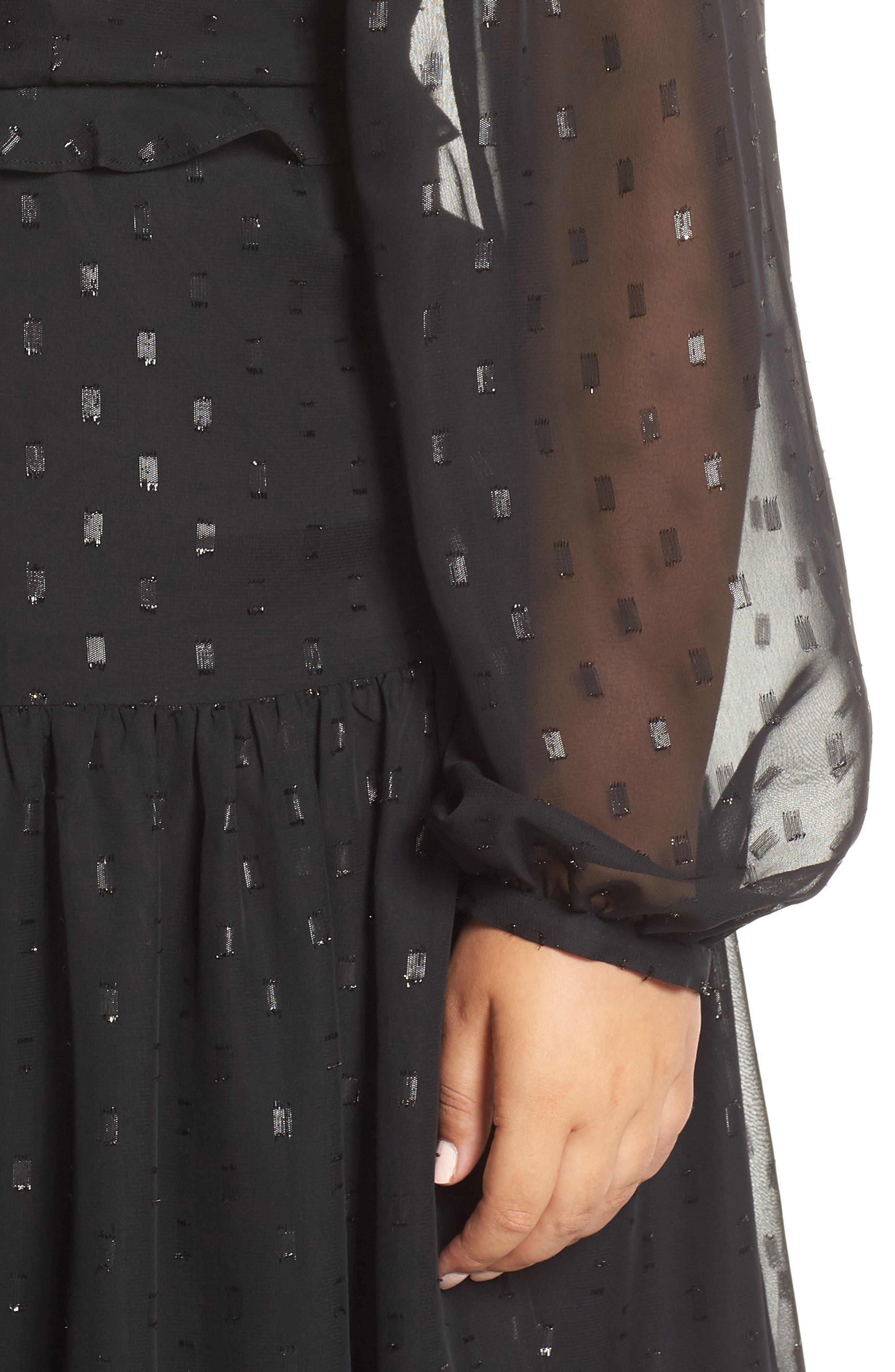 Fil Coupé Midi Dress,                             Alternate thumbnail 11, color,                             BLACK
