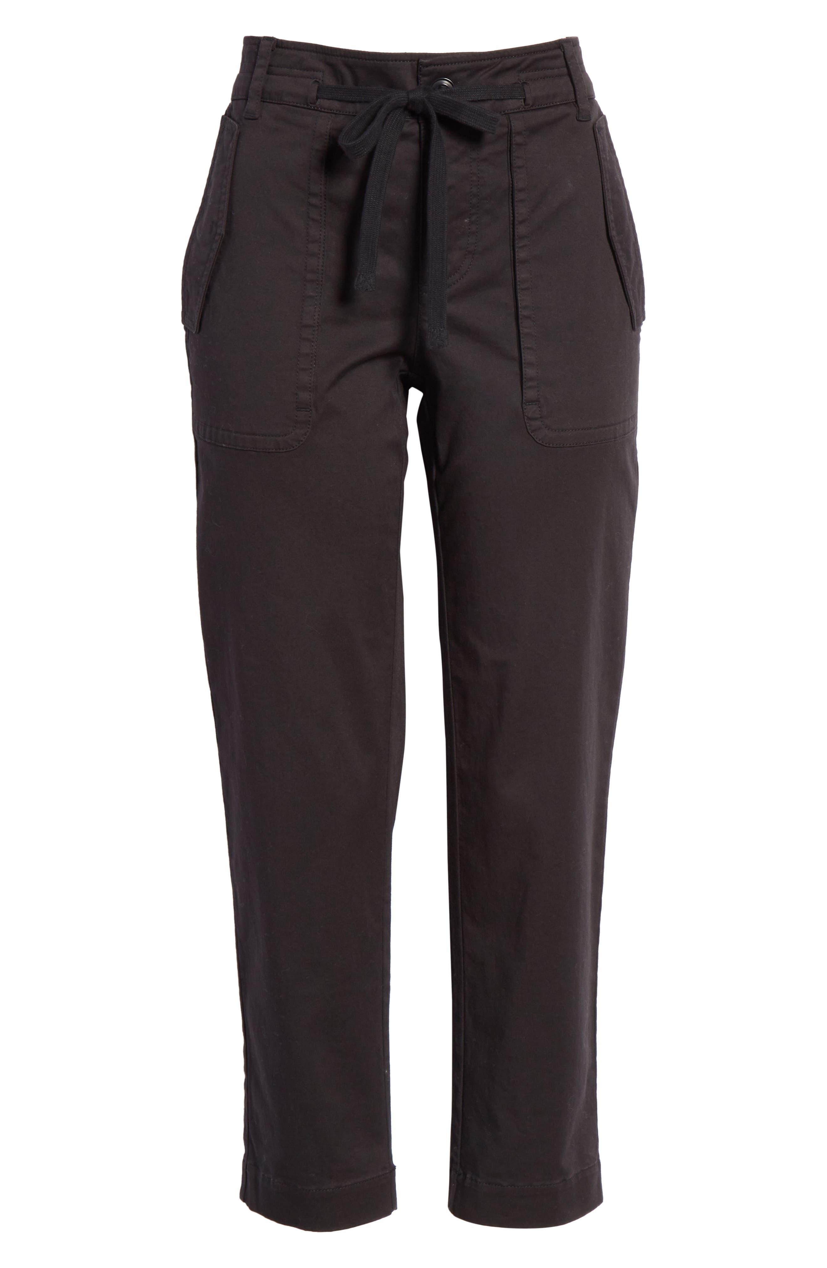 Crop Utility Pants,                             Alternate thumbnail 6, color,                             BLACK