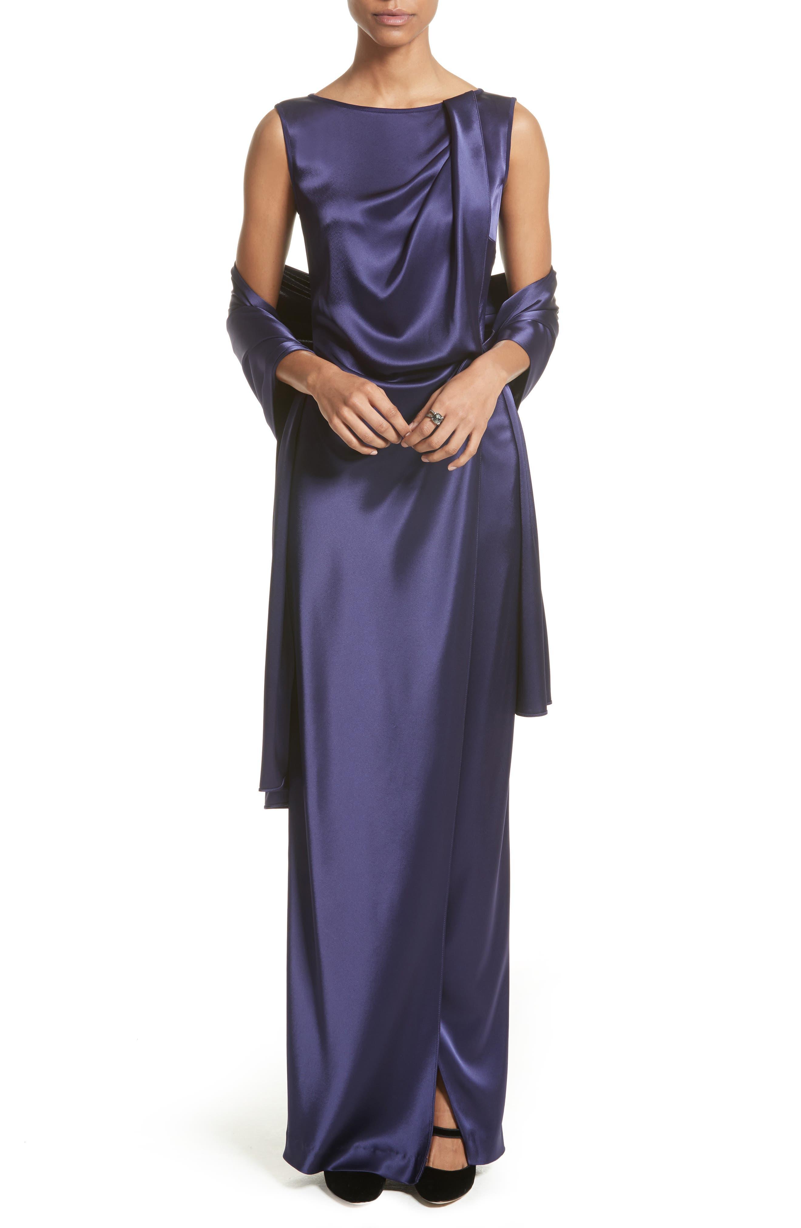 Liquid Satin Drape Front Column Gown,                             Alternate thumbnail 6, color,