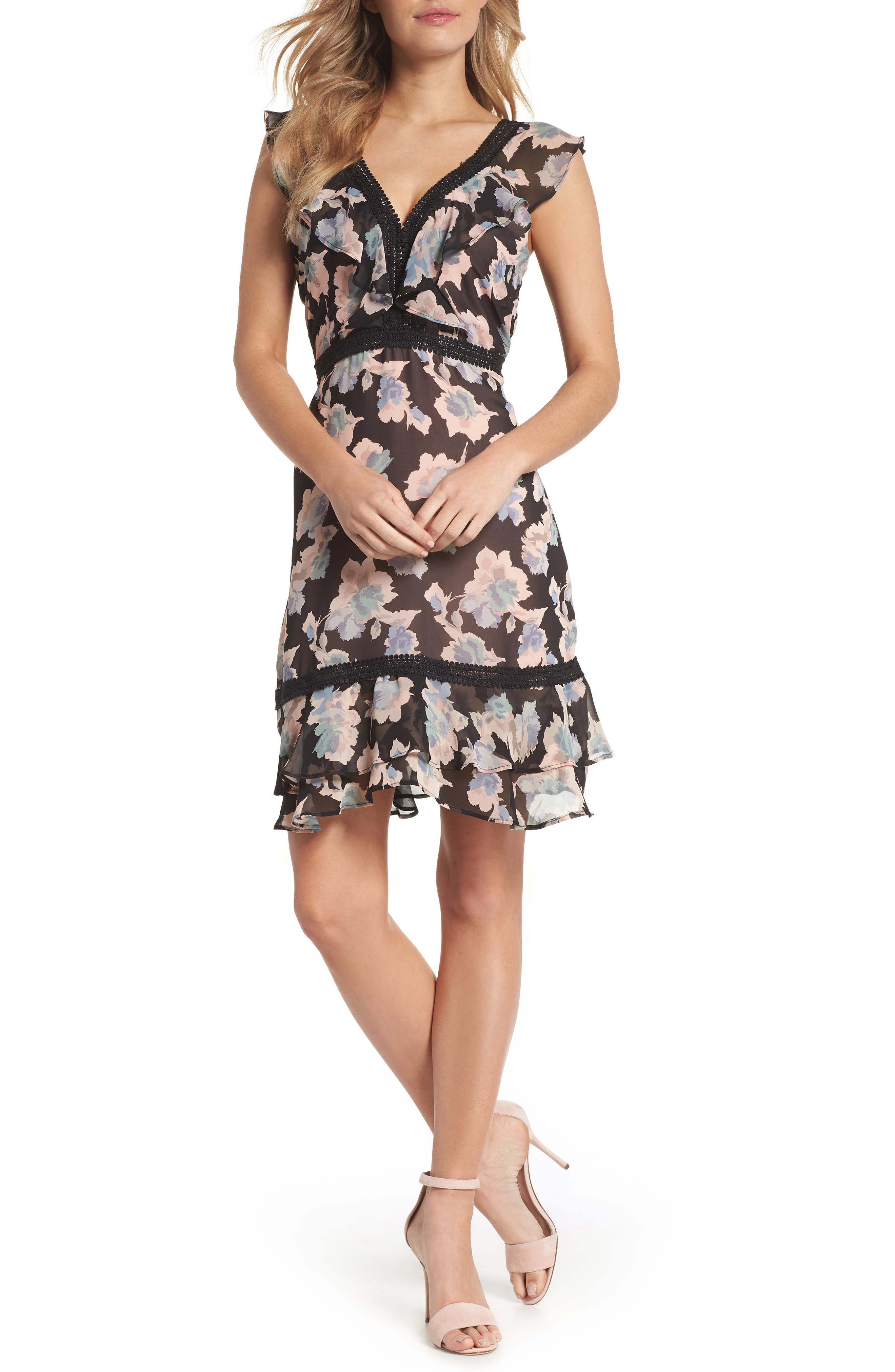 Floral Ruffle Hem Fit & Flare Dress,                         Main,                         color, 007