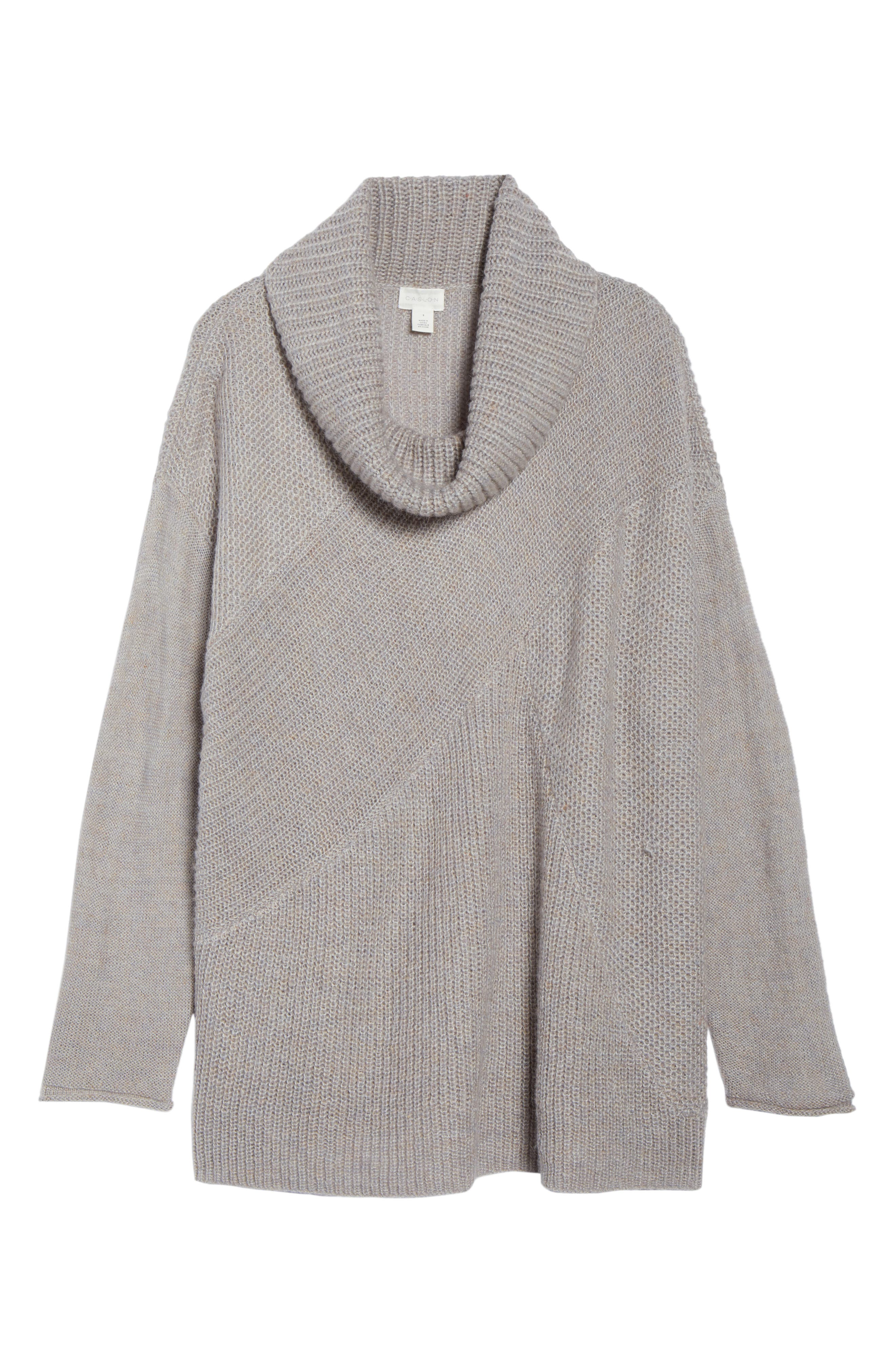 Mix Stitch Wool Blend Funnel Neck Sweater,                             Alternate thumbnail 6, color,                             GREY HEATHER