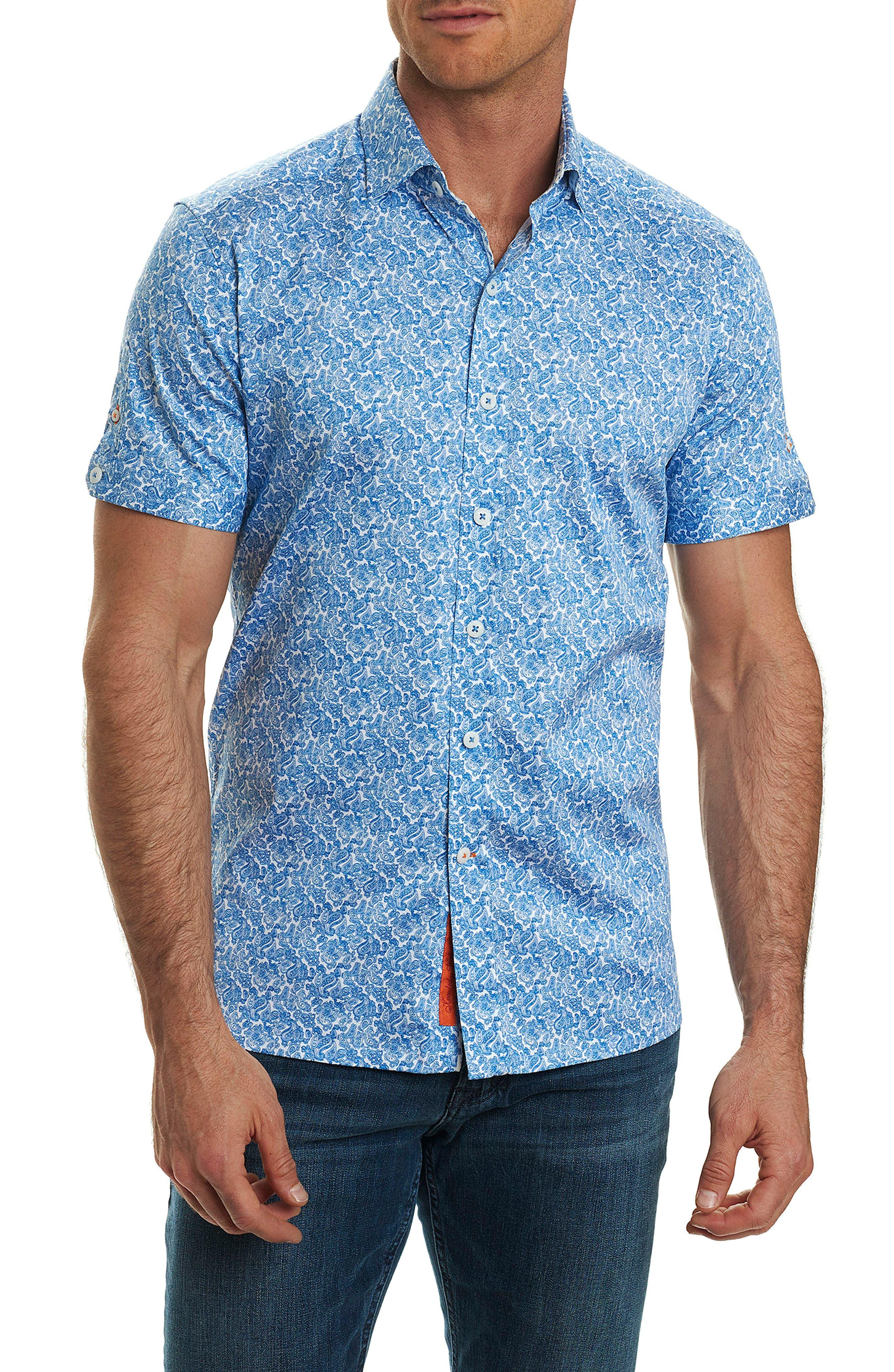 Thad Tailored Fit Paisley Sport Shirt,                             Main thumbnail 1, color,
