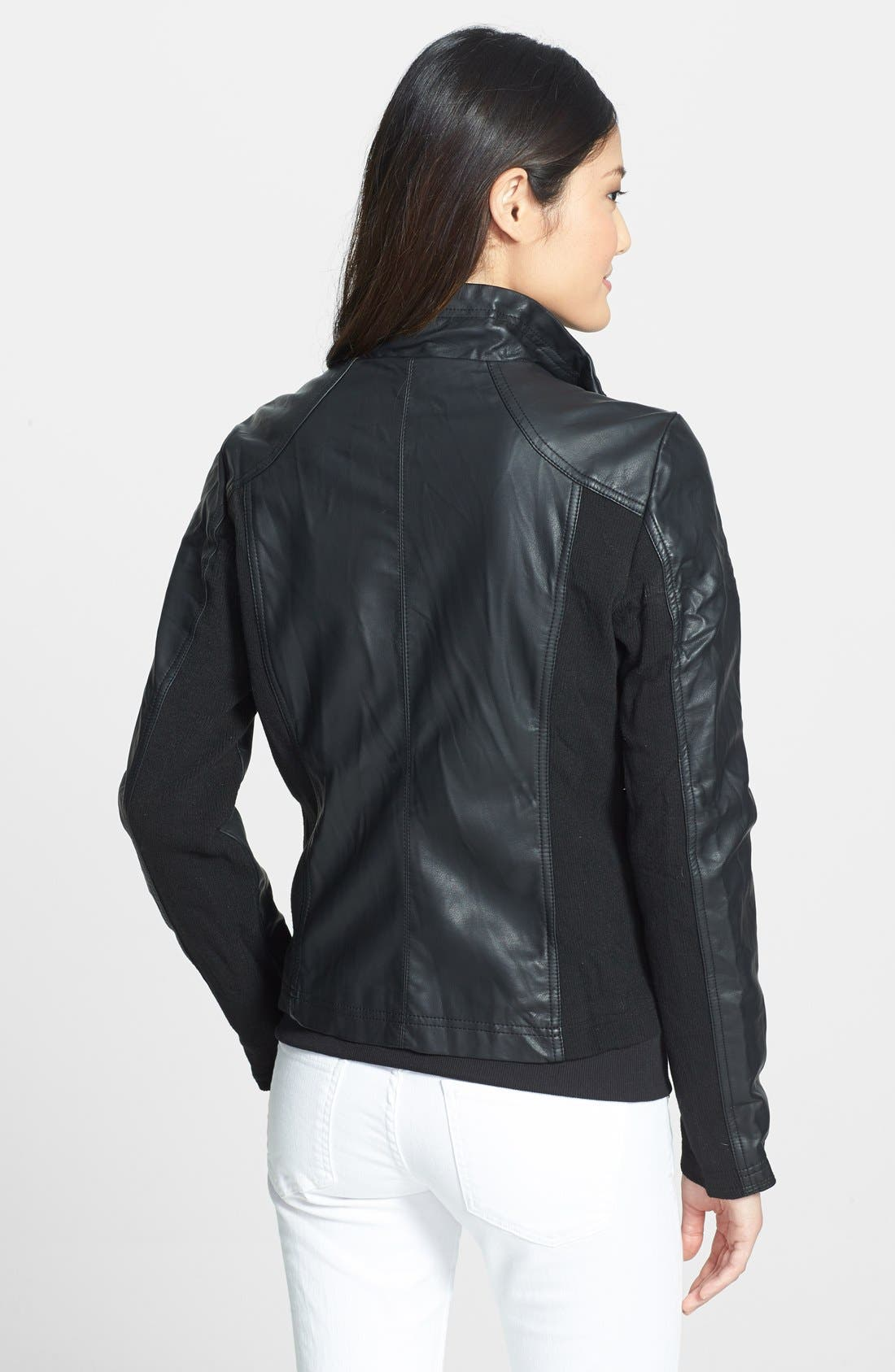 Fitted Faux Leather & Knit Jacket,                             Alternate thumbnail 2, color,                             001