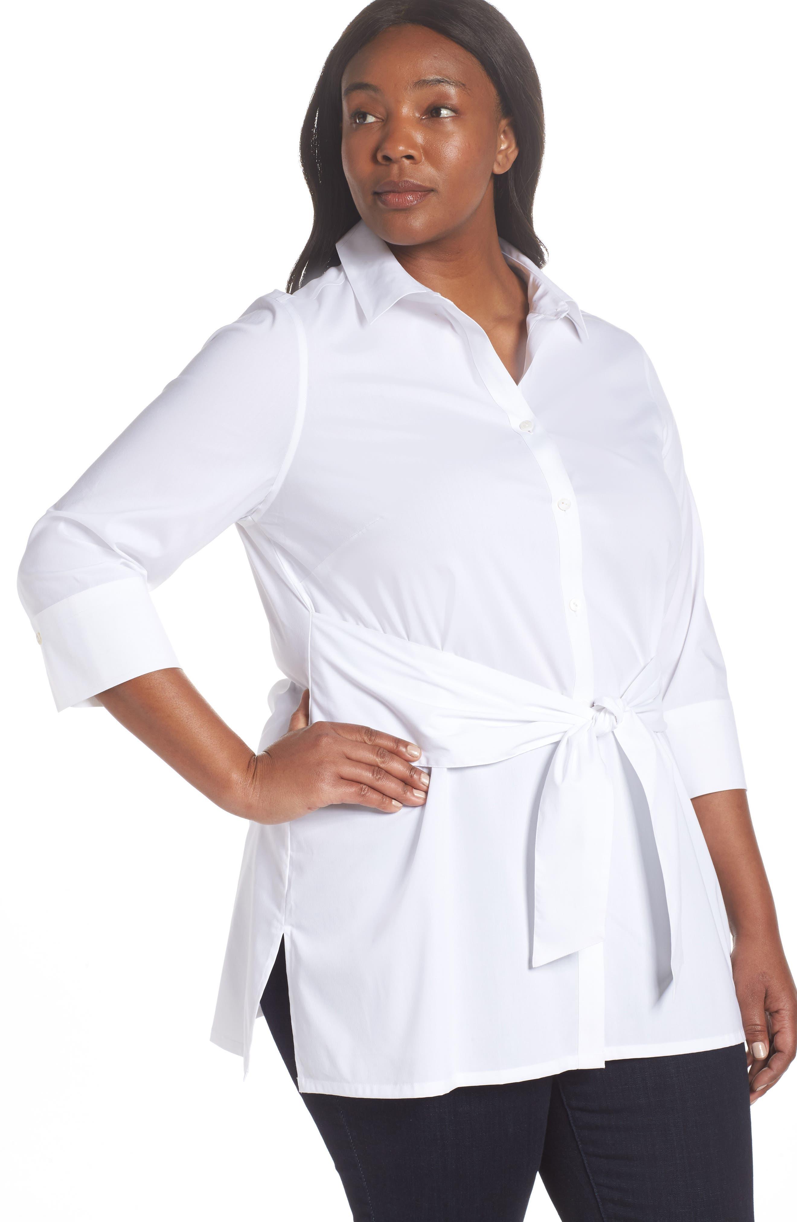 Michaela Solid Tie Front Shirt,                             Alternate thumbnail 4, color,                             WHITE