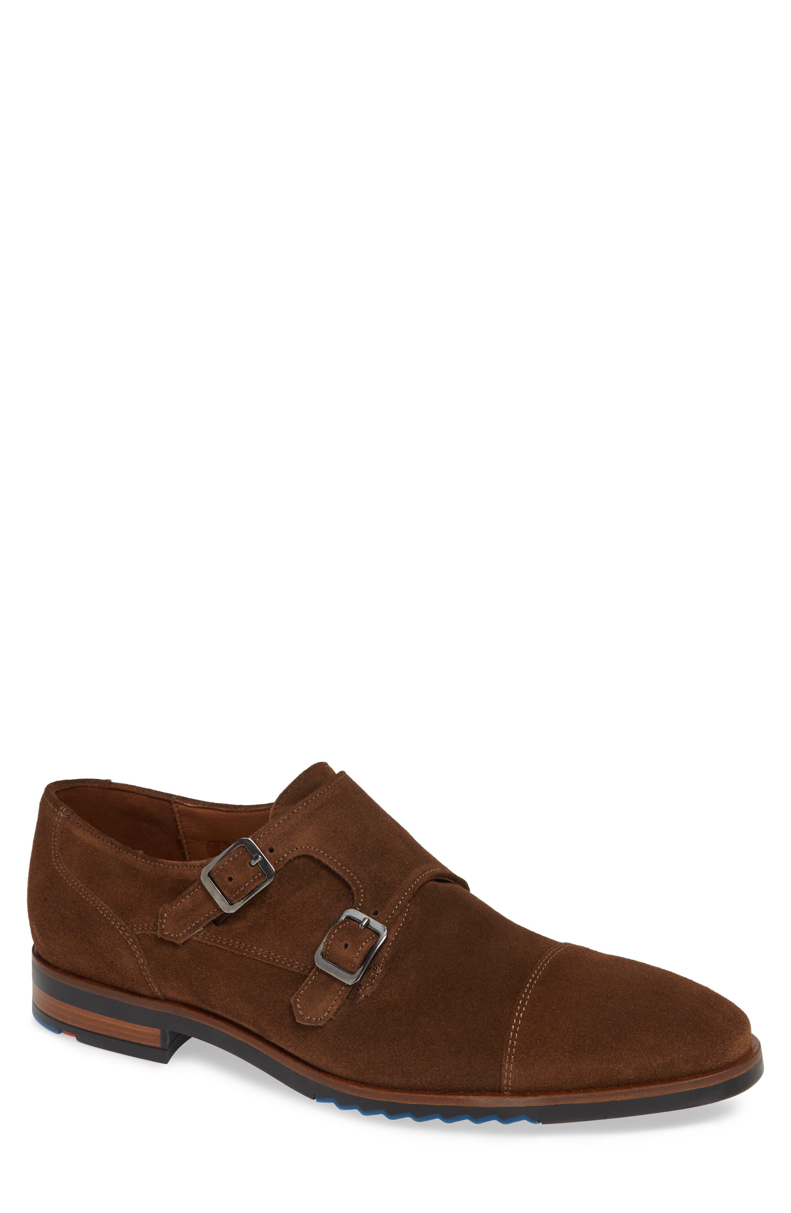 Darrow Double Monk Strap Shoe,                             Main thumbnail 1, color,                             CIGAR BROWN SUEDE
