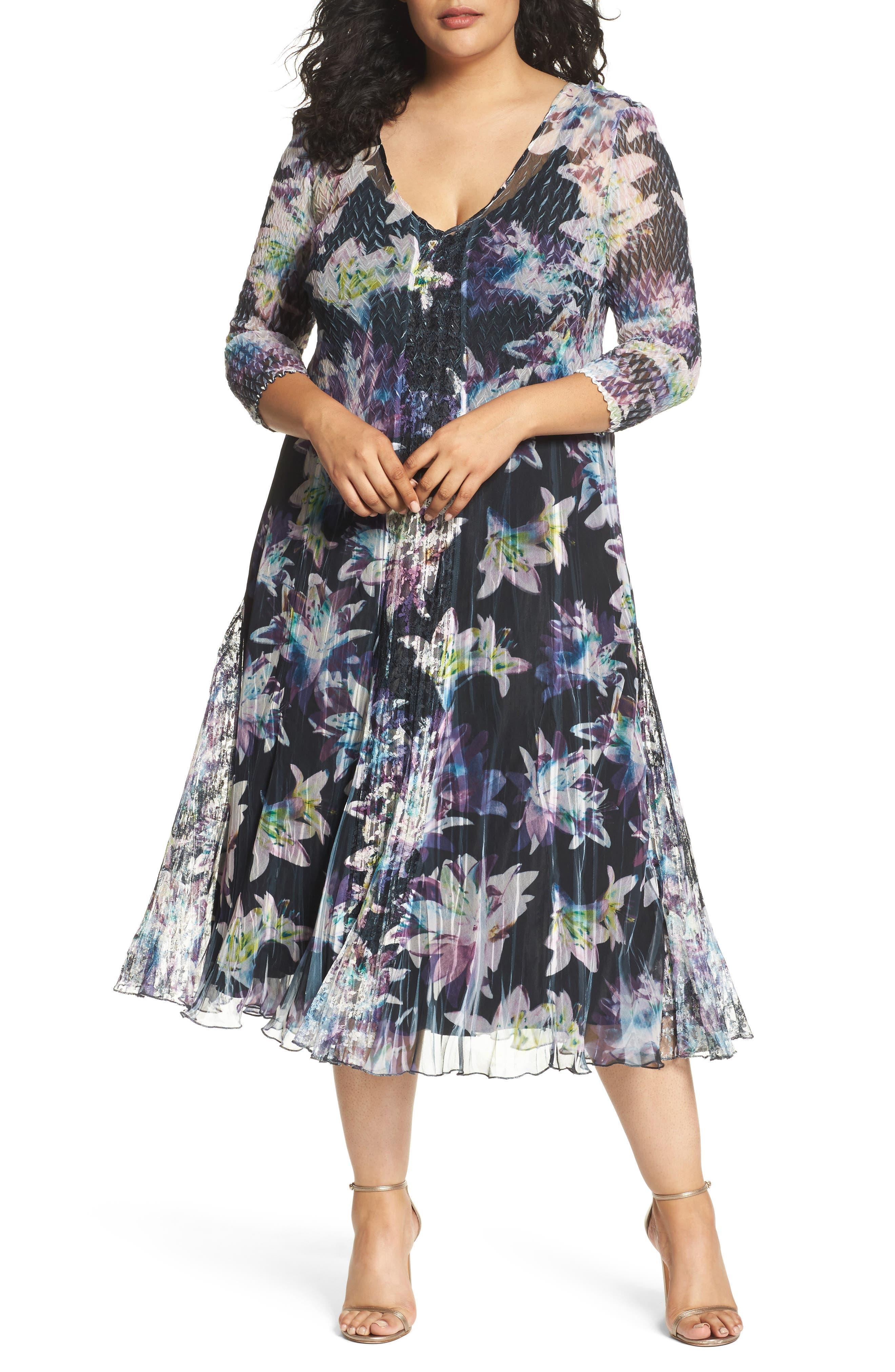Floral Charmeuse & Chiffon A-Line Dress,                         Main,                         color, 409