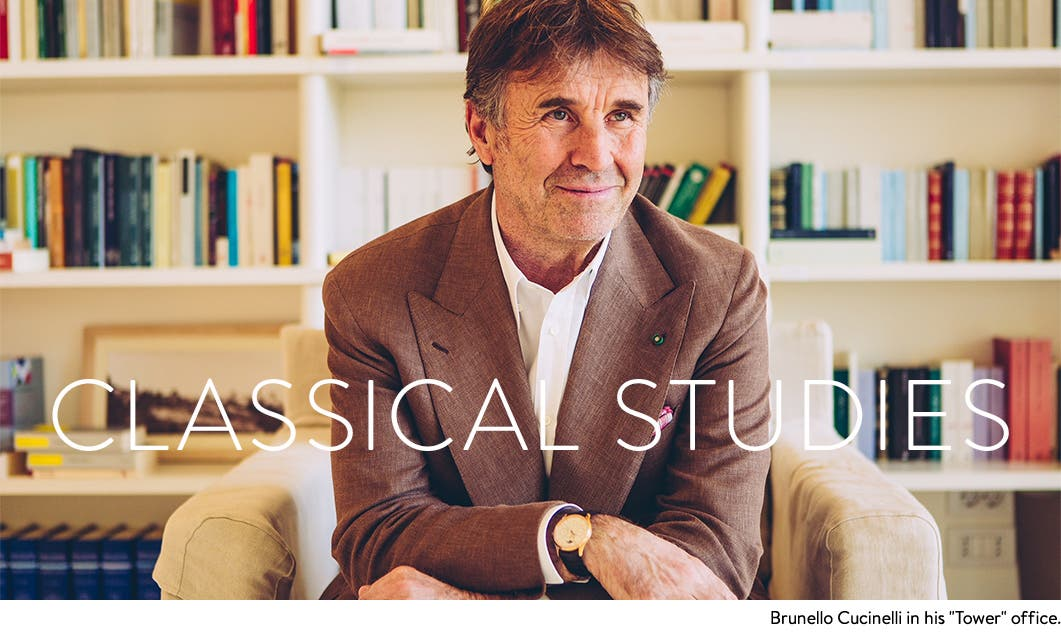 Classical Studies: designer Brunello Cucinelli in his office.