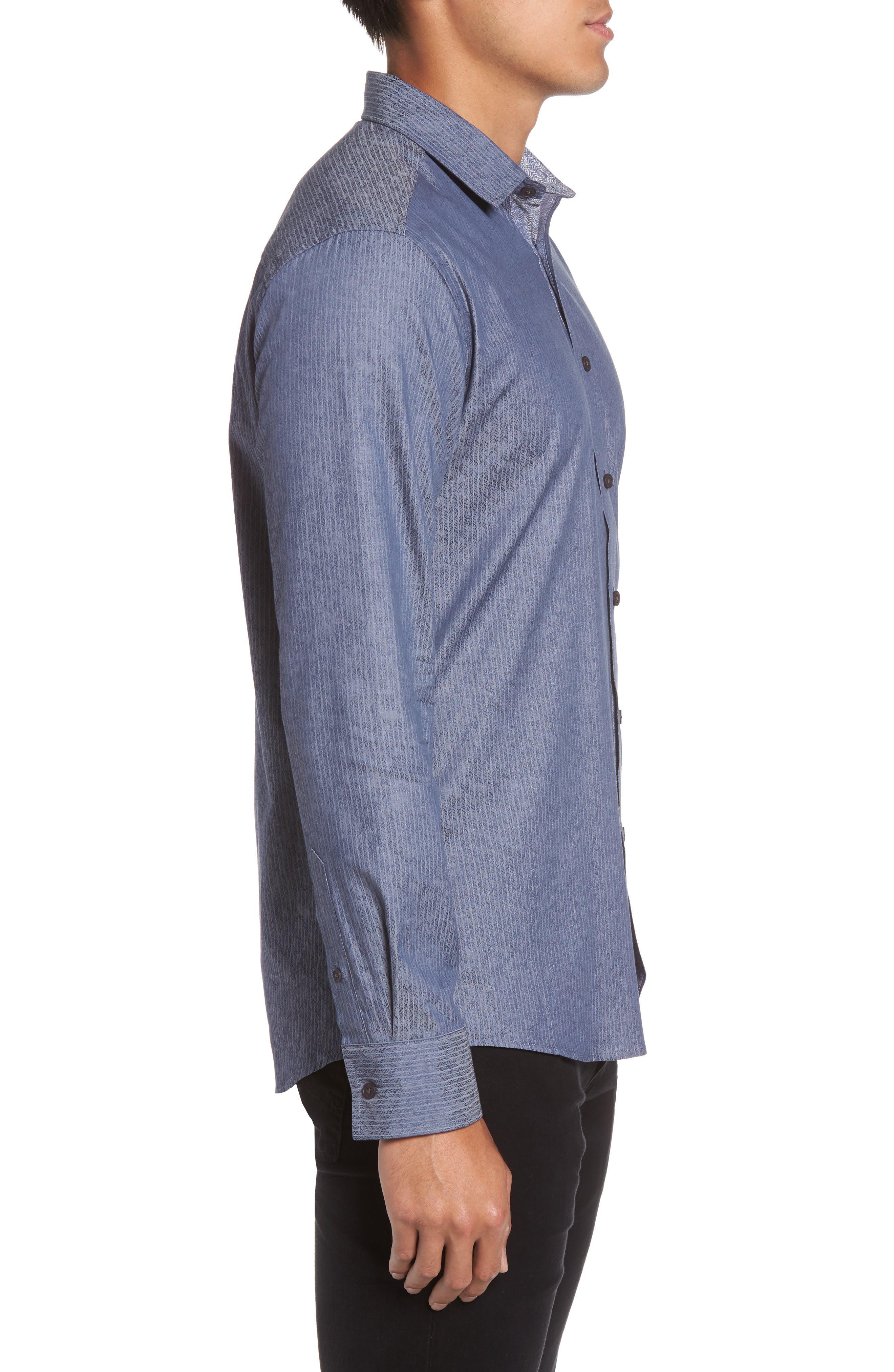 Slim Fit Print Sport Shirt,                             Alternate thumbnail 3, color,                             420
