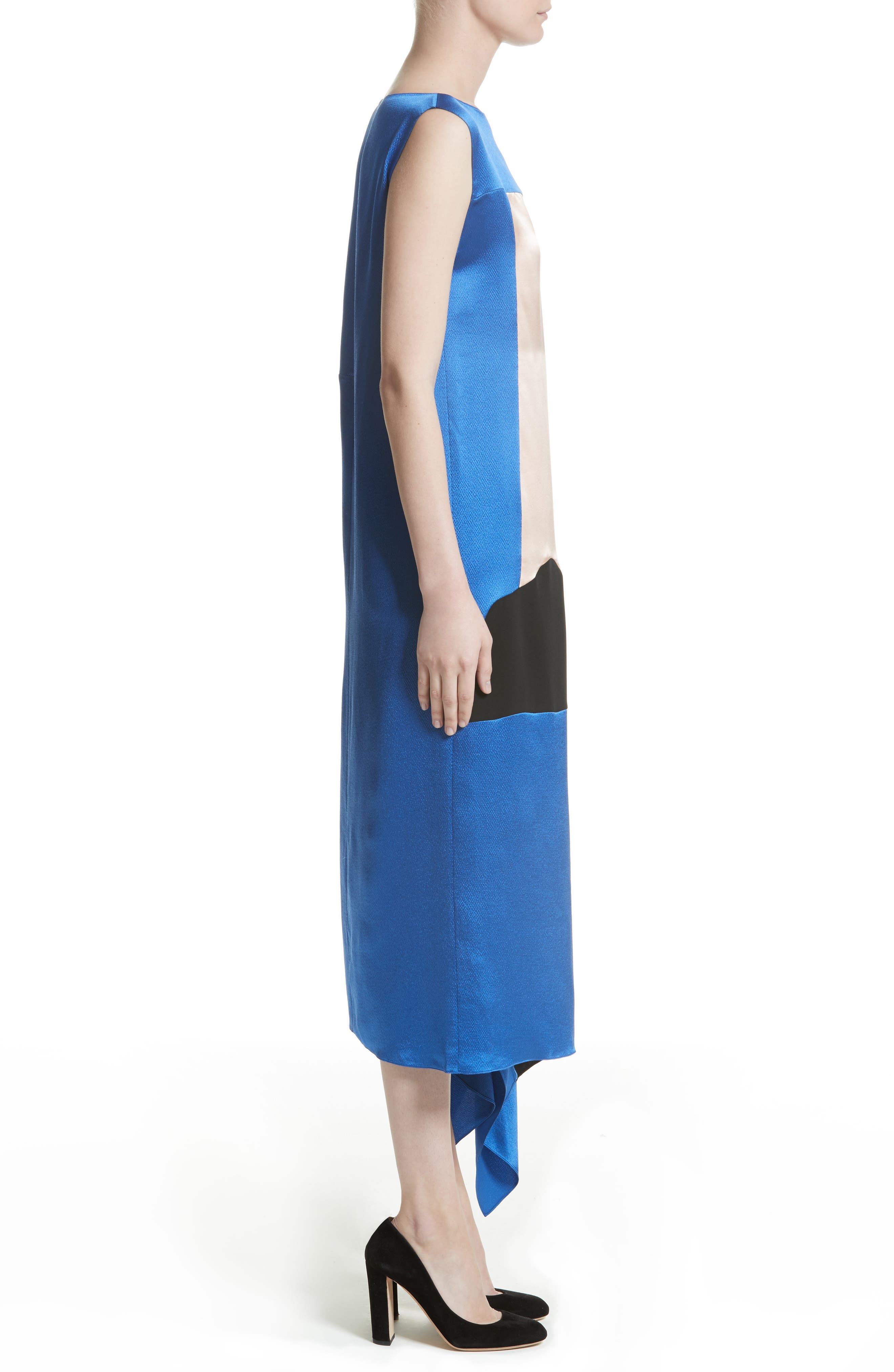 Nakato Hammered Silk, Satin and Crêpe de Chine Midi Dress,                             Alternate thumbnail 4, color,                             400