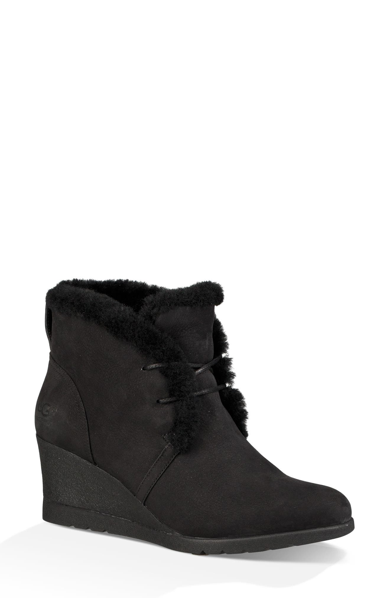 Jeovana Genuine Shearling Lined Boot,                             Main thumbnail 1, color,                             BLACK SUEDE