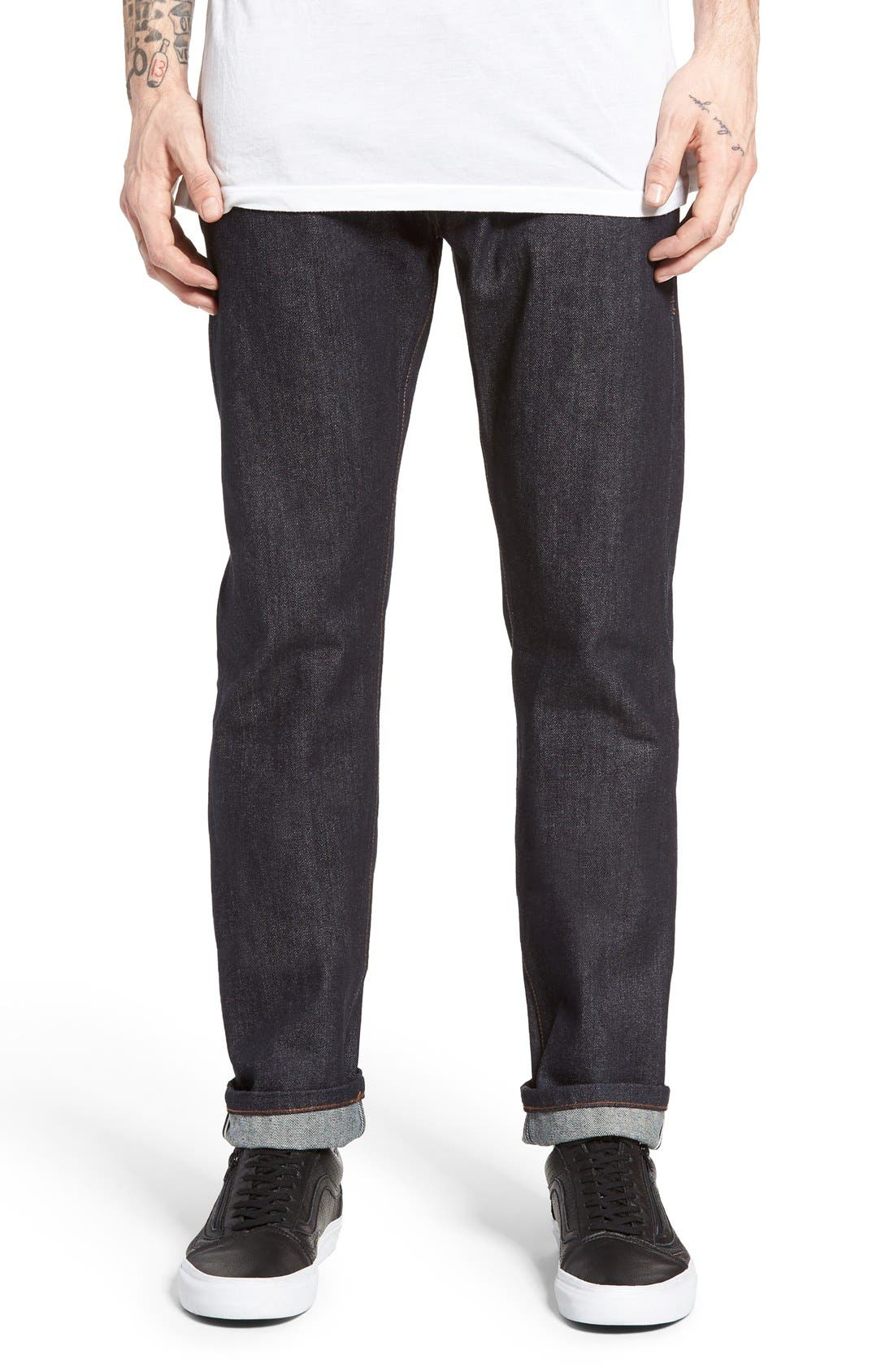 UB201 Tapered Fit Raw Selvedge Jeans,                         Main,                         color, INDIGO