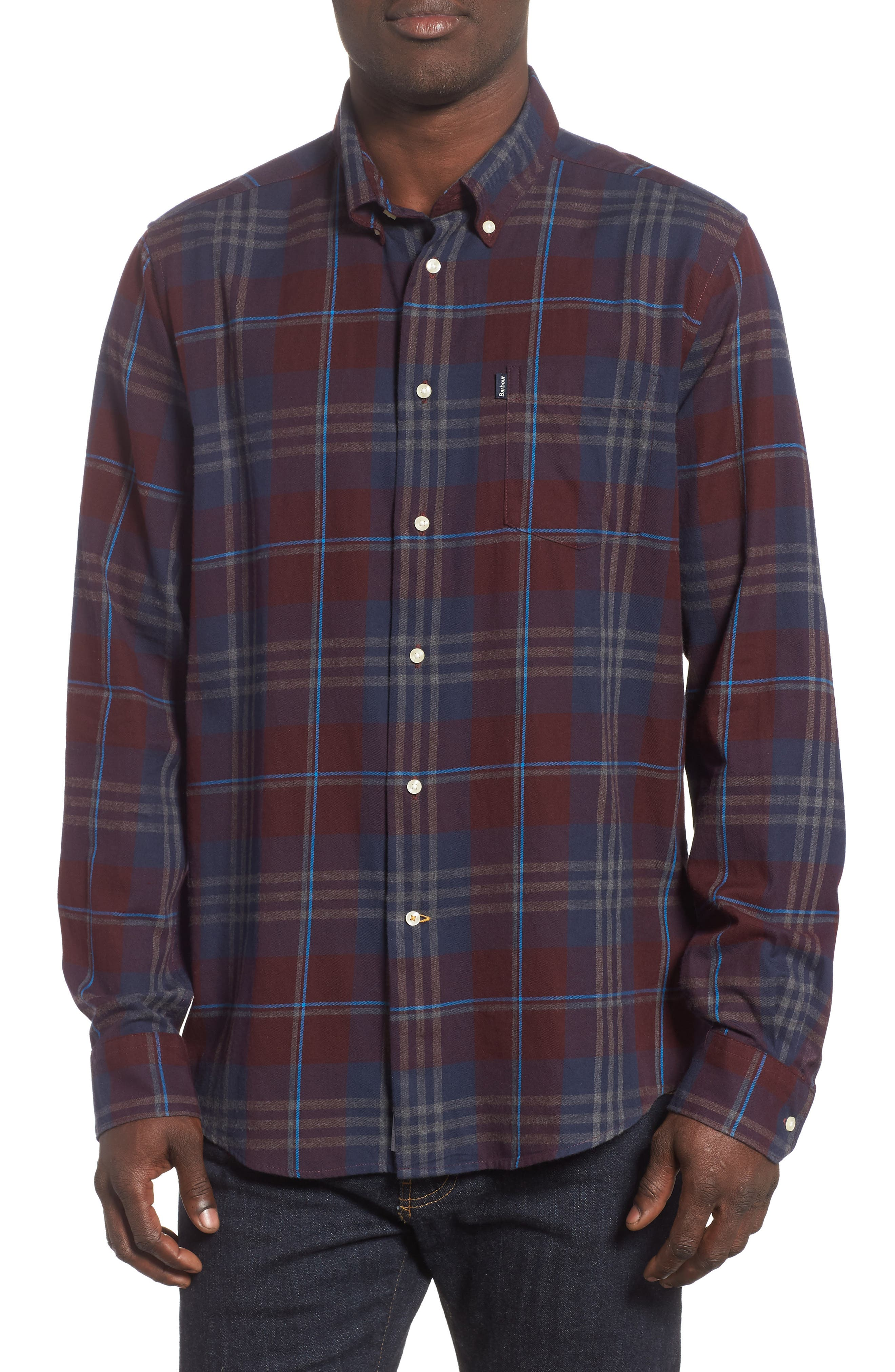 BARBOUR Stapleton Highland Check Tailored Fit Button-Down Shirt in Merlot