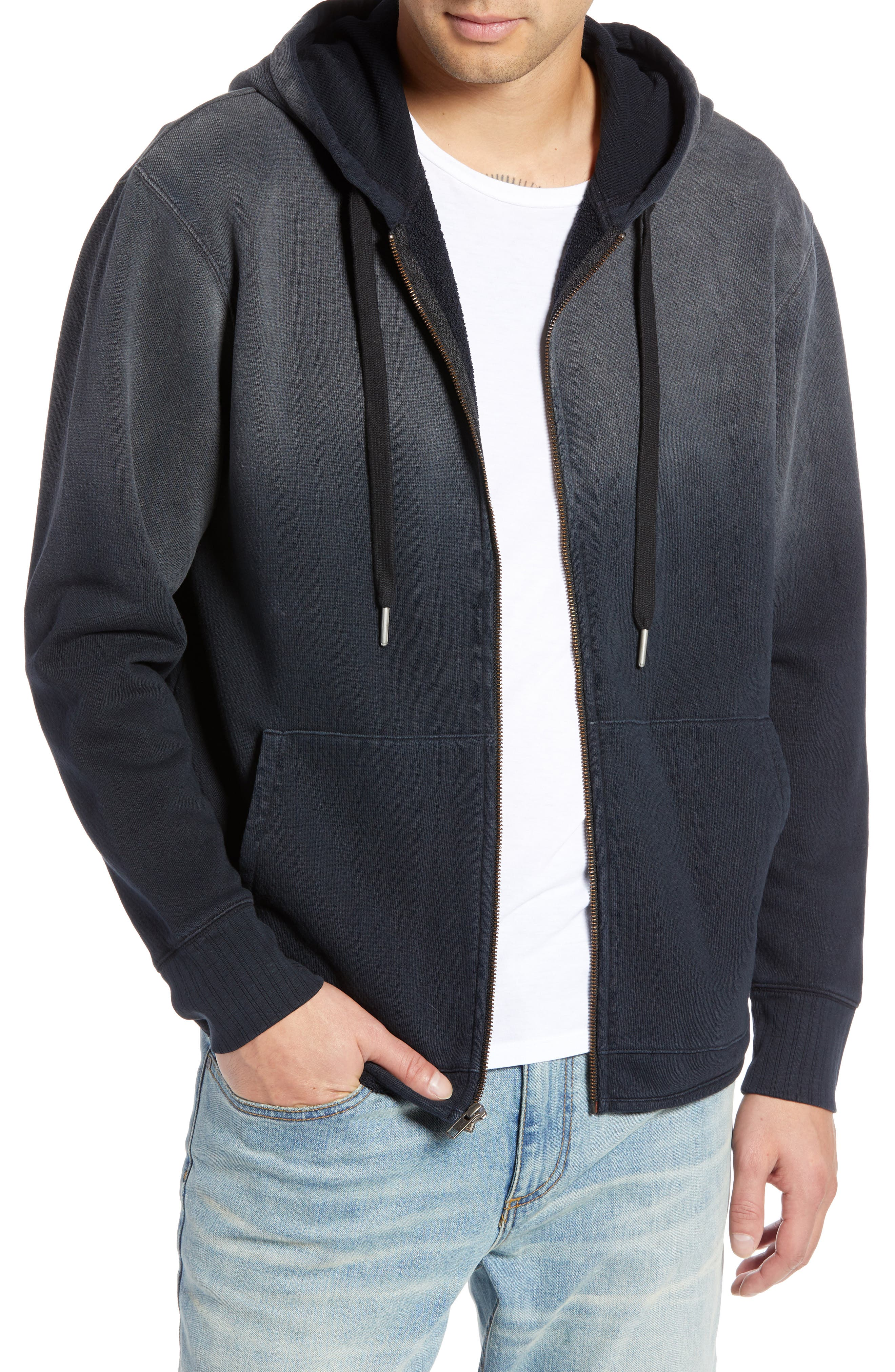 Ombré French Terry Zip Hoodie,                         Main,                         color, BLACK ROCK