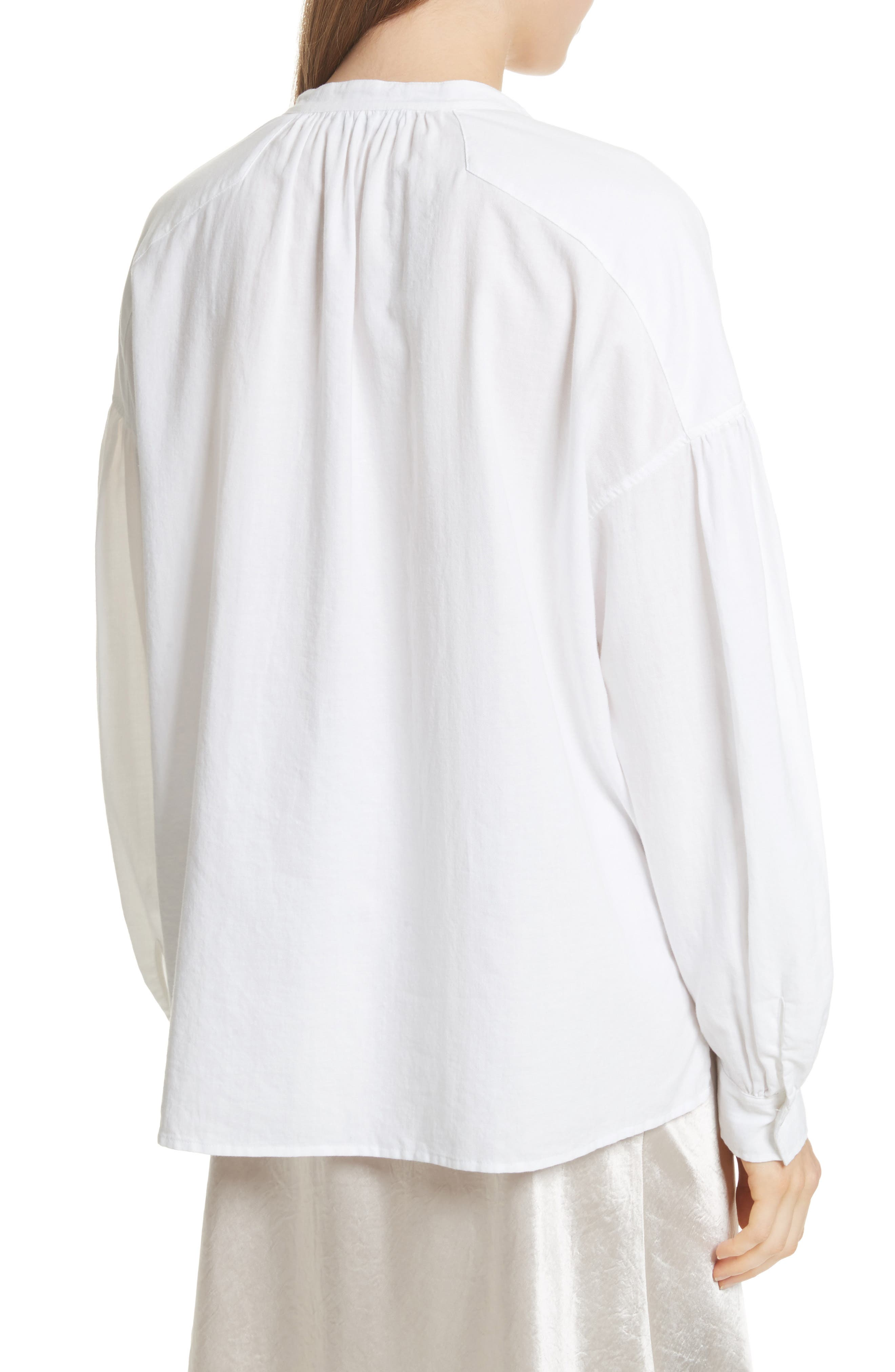 Shirred Cotton Blouse,                             Alternate thumbnail 4, color,