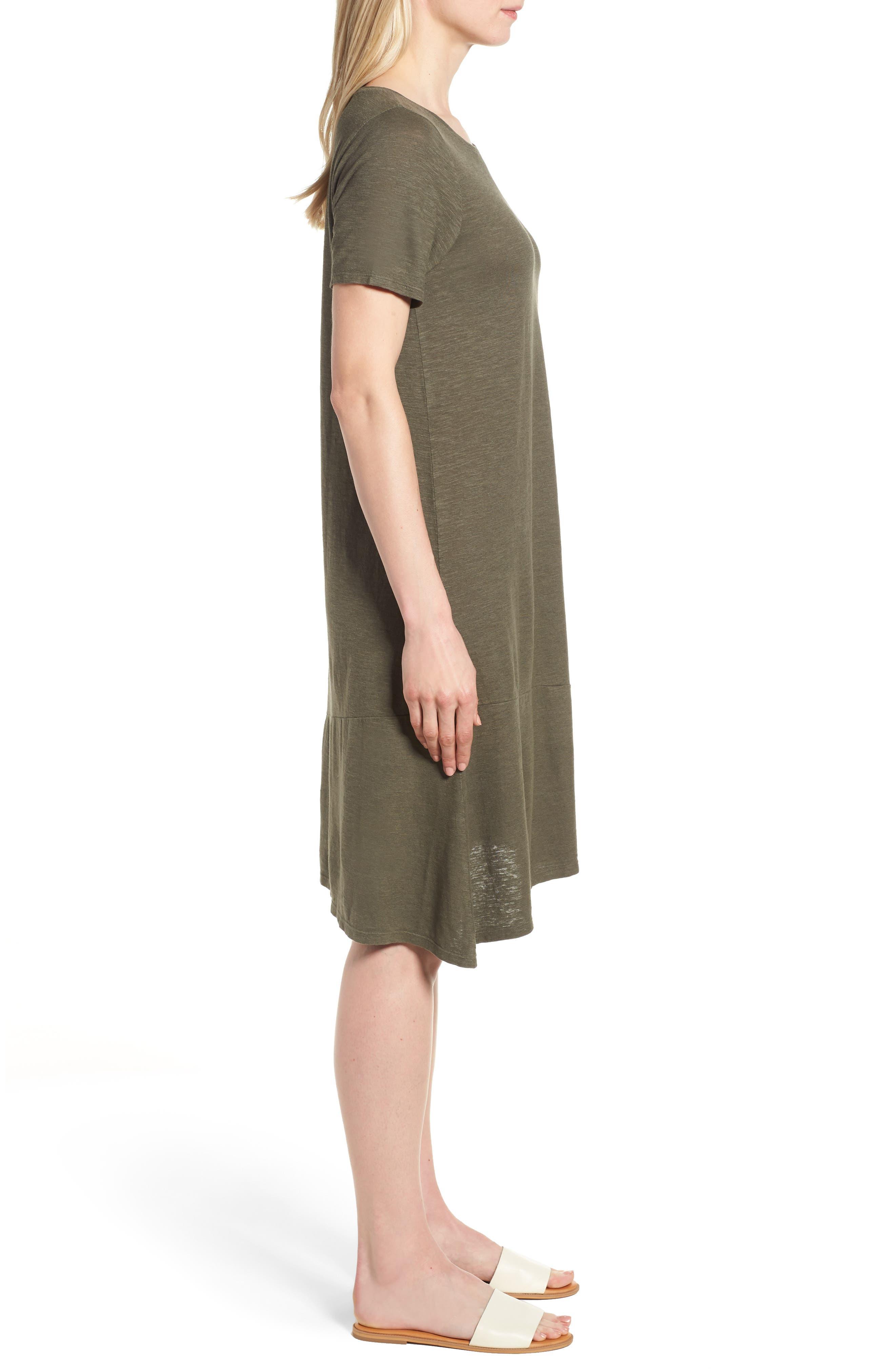 Asymmetrical Hemp Blend Shift Dress,                             Alternate thumbnail 3, color,                             359