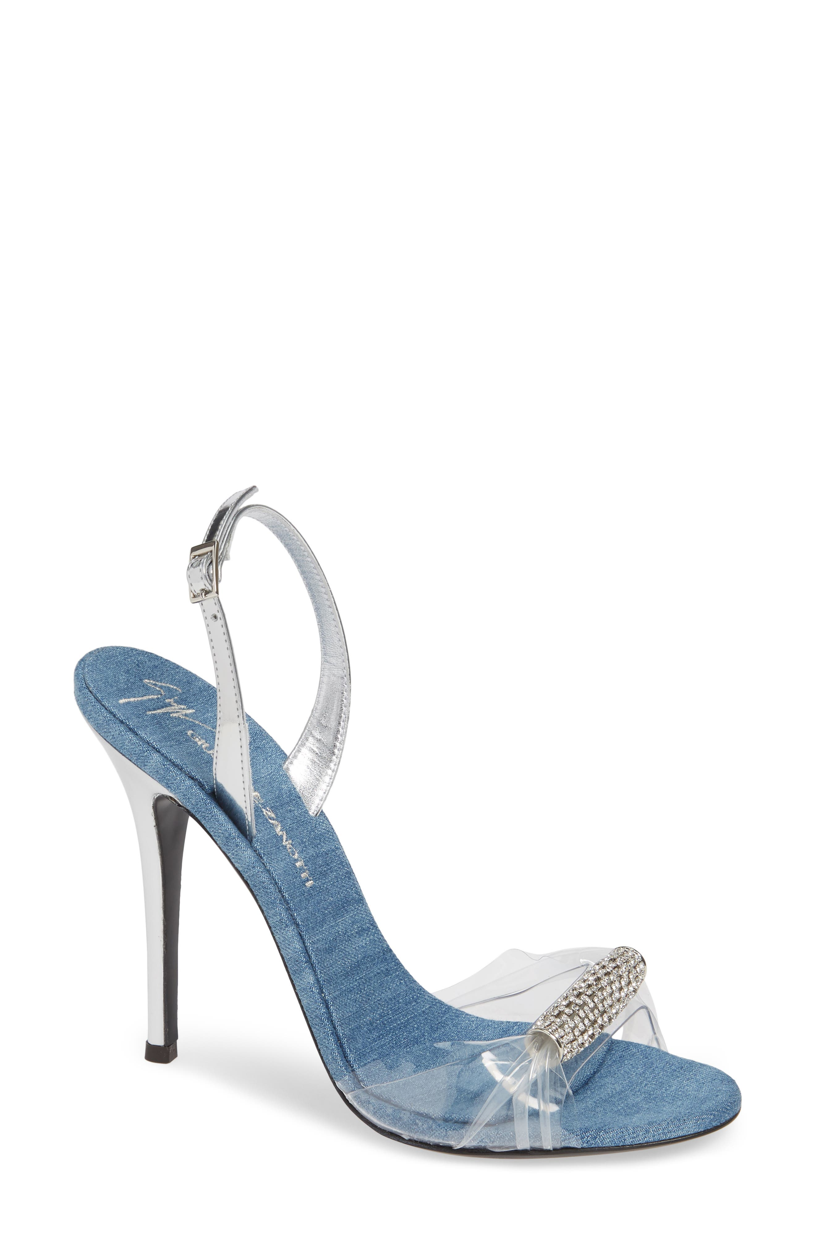 Crystal Embellished Sandal,                         Main,                         color, DENIM/ TRANSPARENT