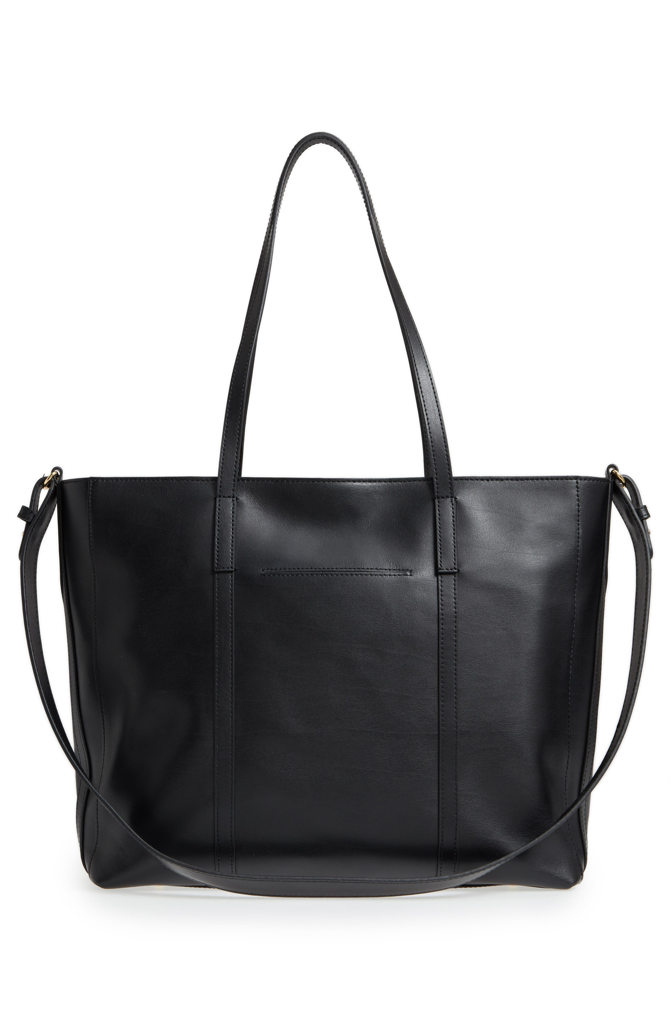 Nelly RFID Medium Leather Tote,                             Alternate thumbnail 3, color,                             BLACK