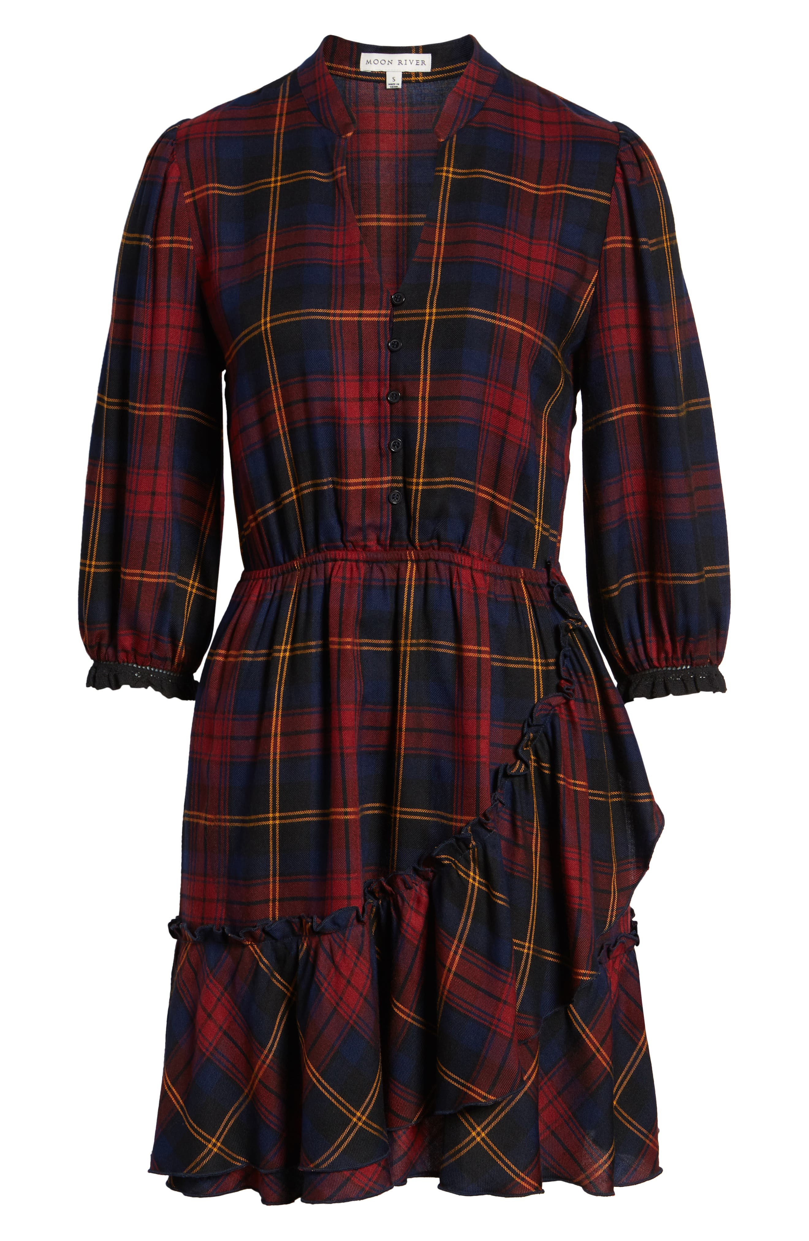 Plaid Ruffle Hem Dress,                             Alternate thumbnail 7, color,                             400