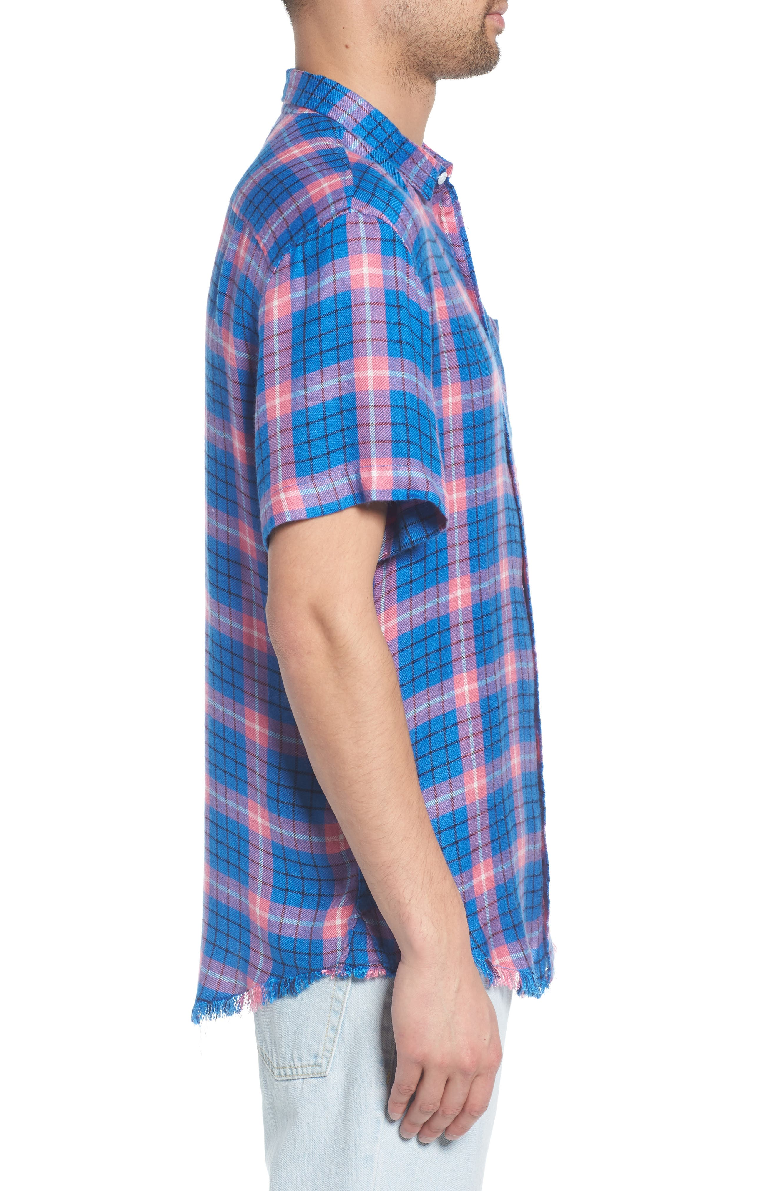 Flannel Woven Shirt,                             Alternate thumbnail 3, color,                             BLUE CAMP PINK BECK PLAID