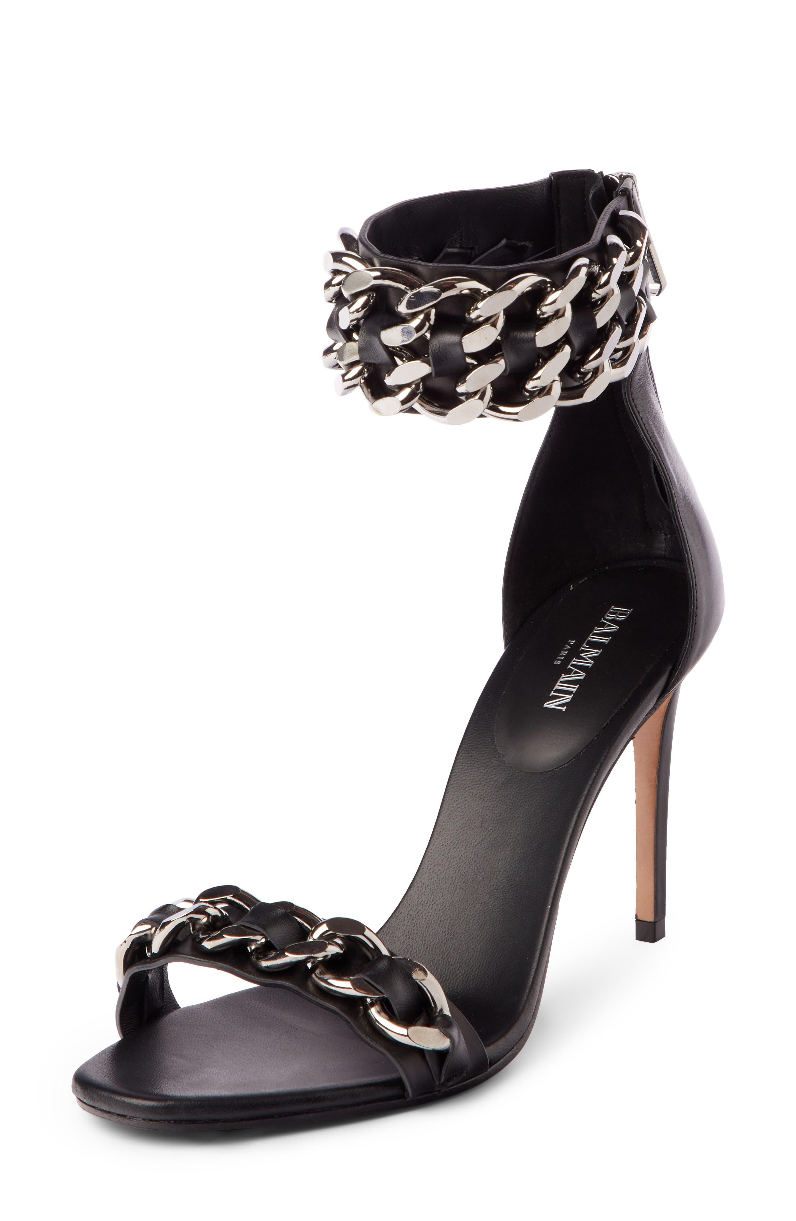 Chain Ankle Strap Sandal,                             Main thumbnail 1, color,                             BLACK