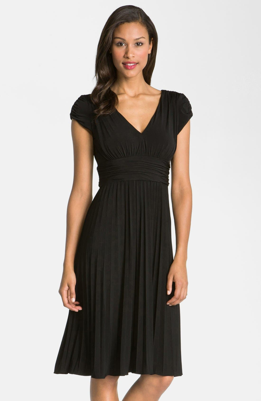'Sunburst' Pleated Jersey Fit & Flare Dress,                             Main thumbnail 1, color,                             001