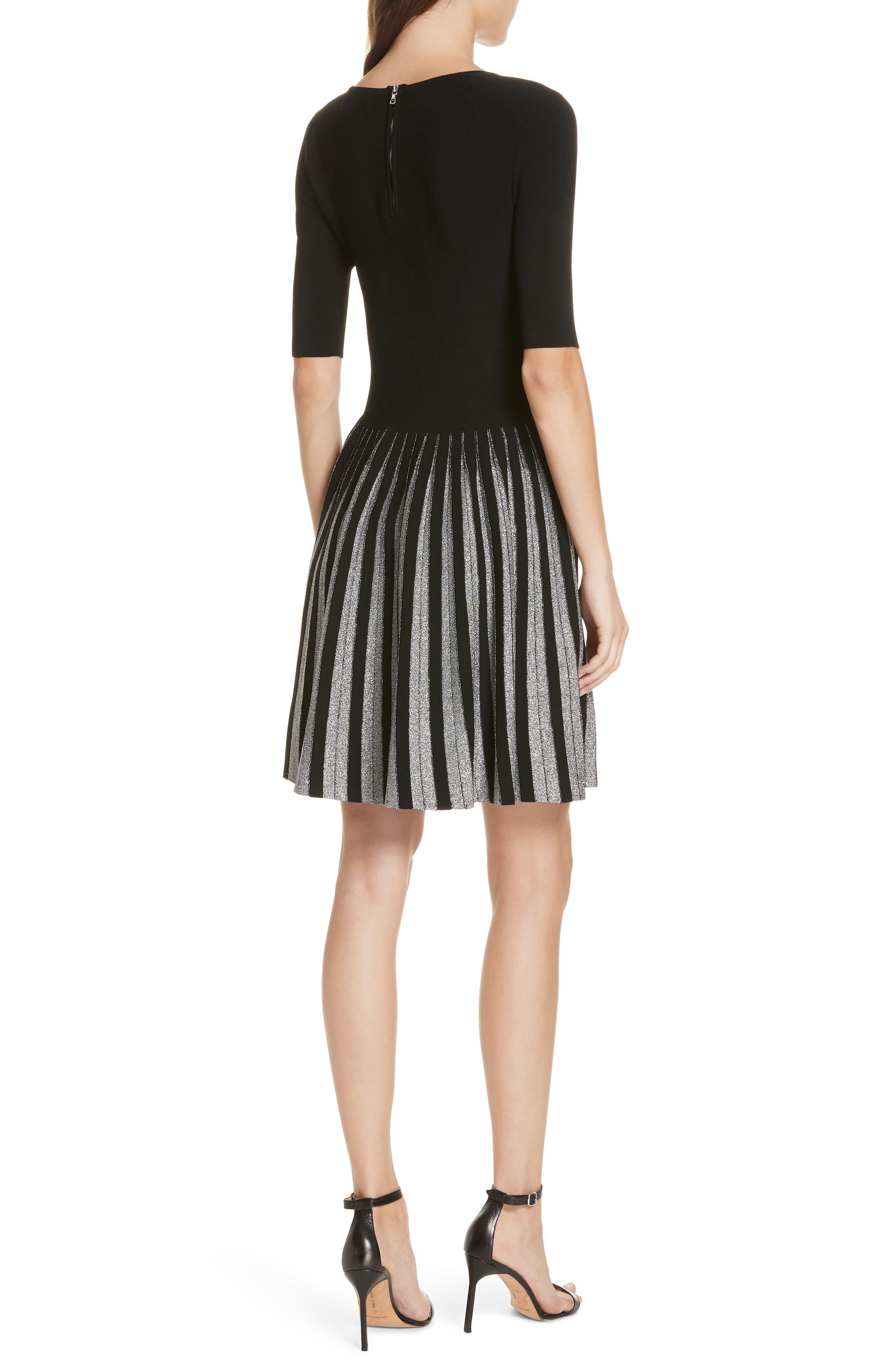 Metallic Pleat Fit & Flare Dress,                             Alternate thumbnail 2, color,                             BLACK/ SILVER