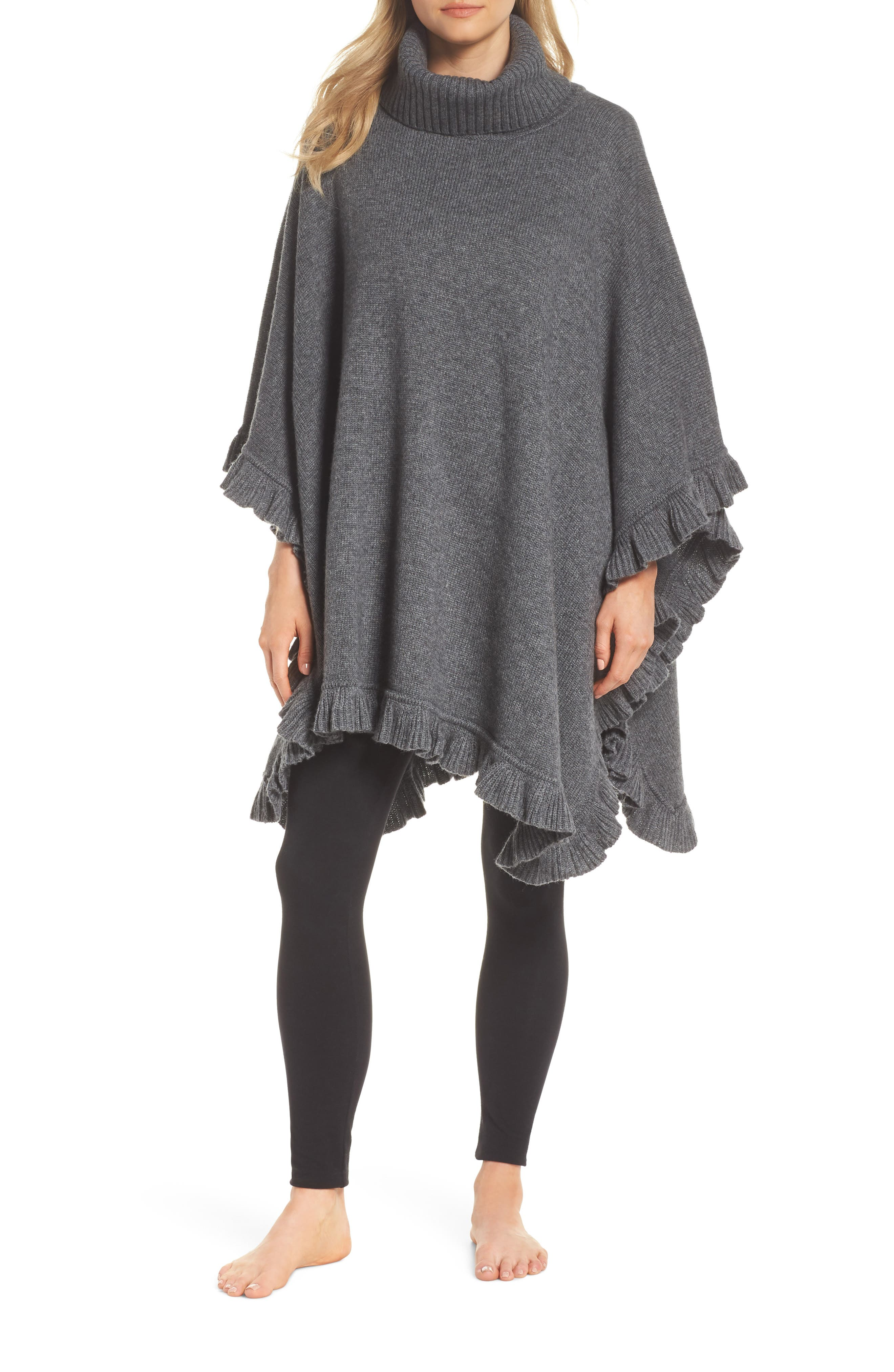 Jacey Turtleneck Poncho,                         Main,                         color, CHARCOAL HEATHER