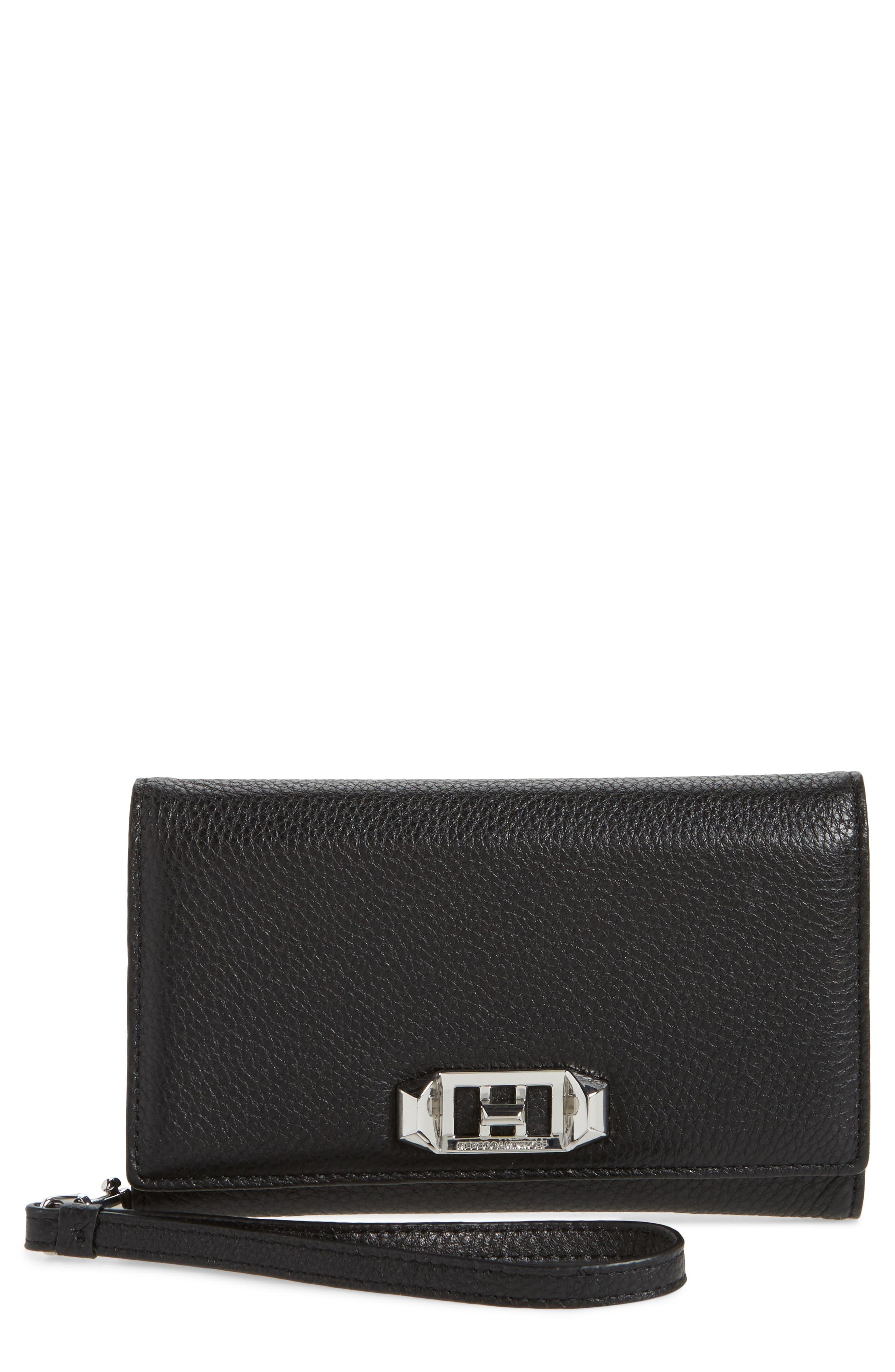 REBECCA MINKOFF,                             Love Lock iPhone 7/8 & 7/8 Plus Leather Wristlet Folio,                             Main thumbnail 1, color,                             001