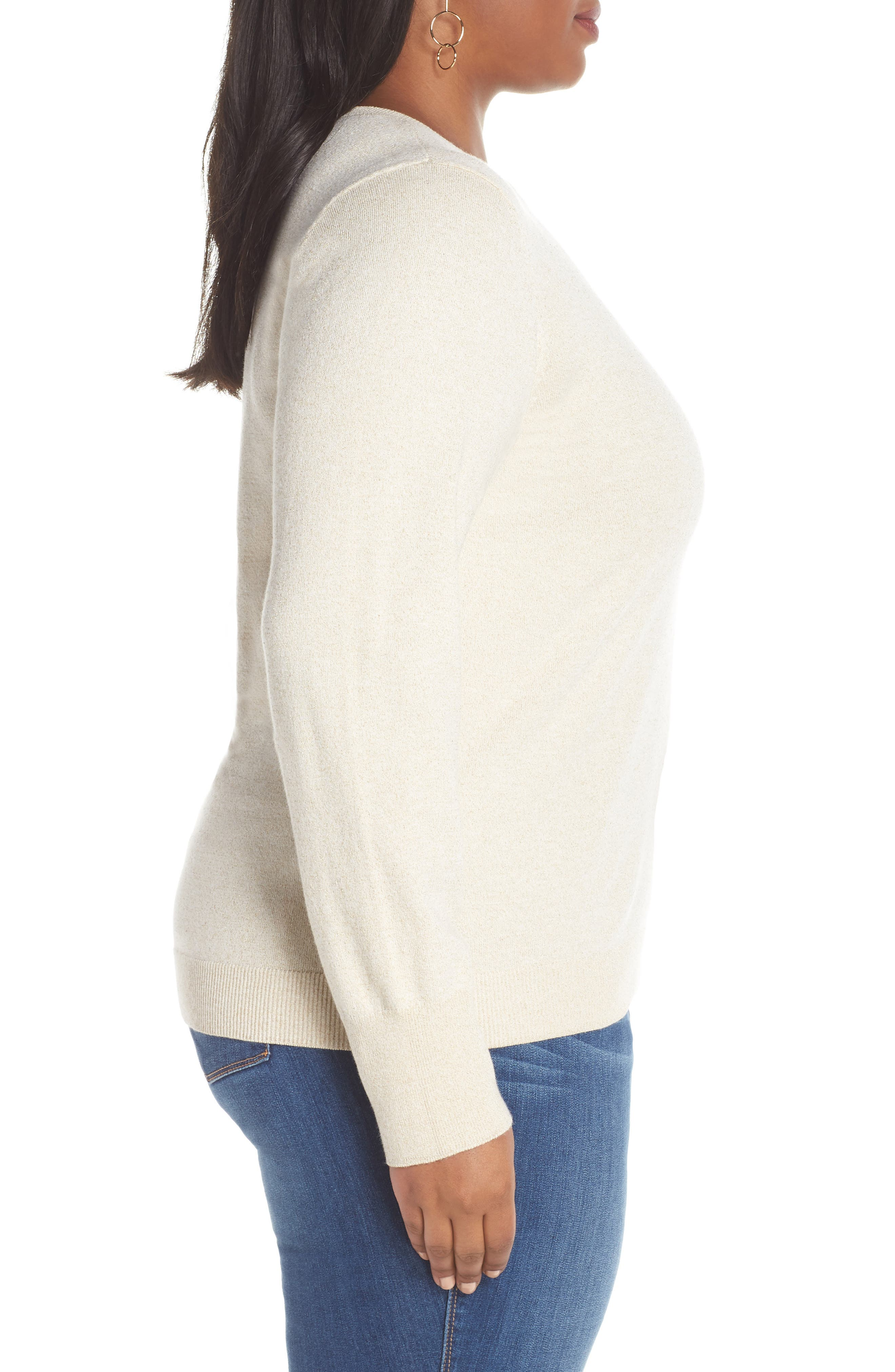 Shimmer Knit Sweater,                             Alternate thumbnail 3, color,                             OATMEAL